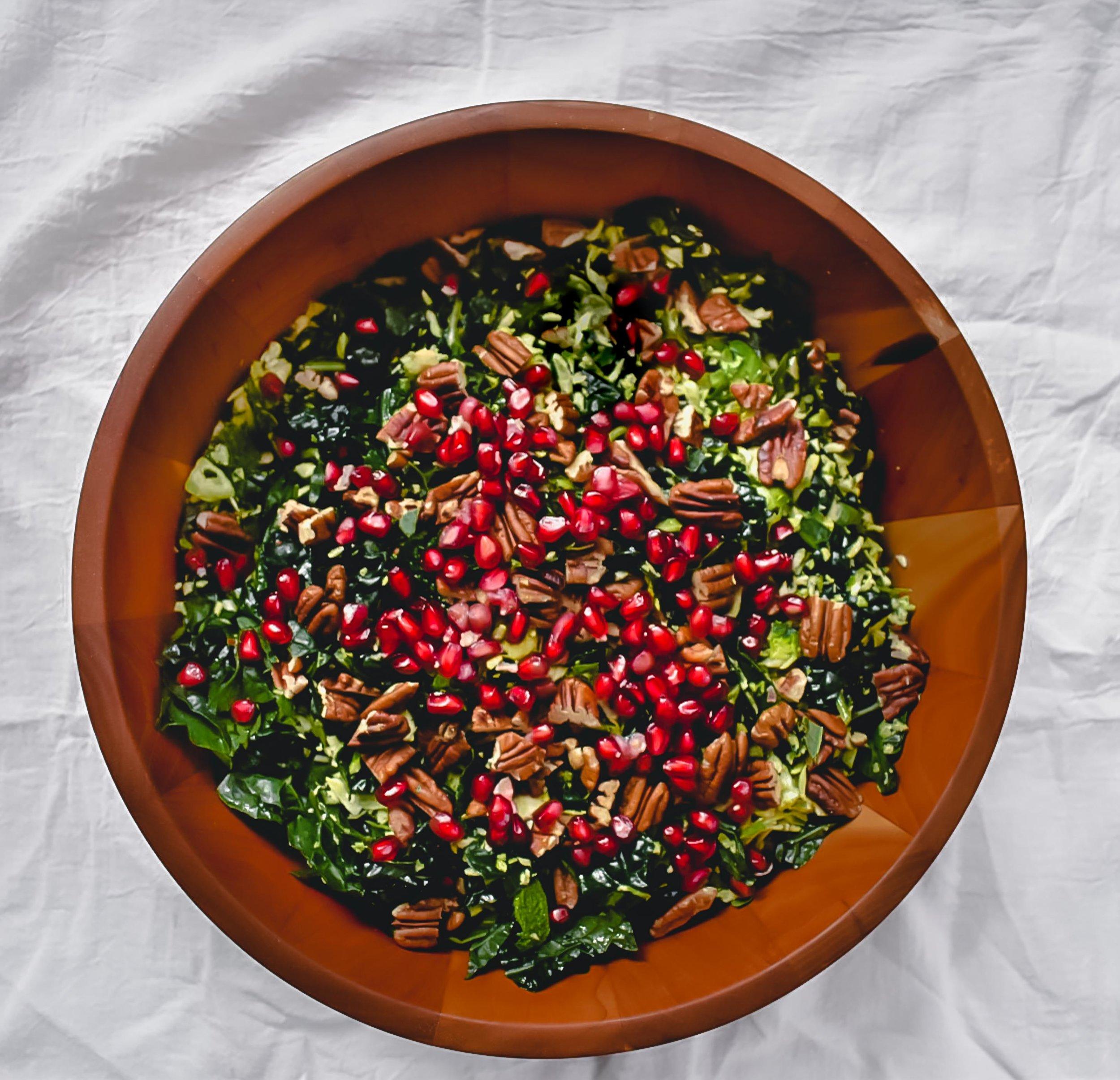 kale pomegranate Brussels sprout salad.