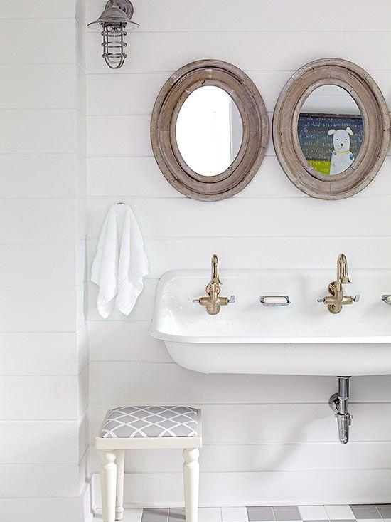 nautical-cottage-kids-bathroom-white-trough-sink-shiplap-walls-brass-faucets.jpg