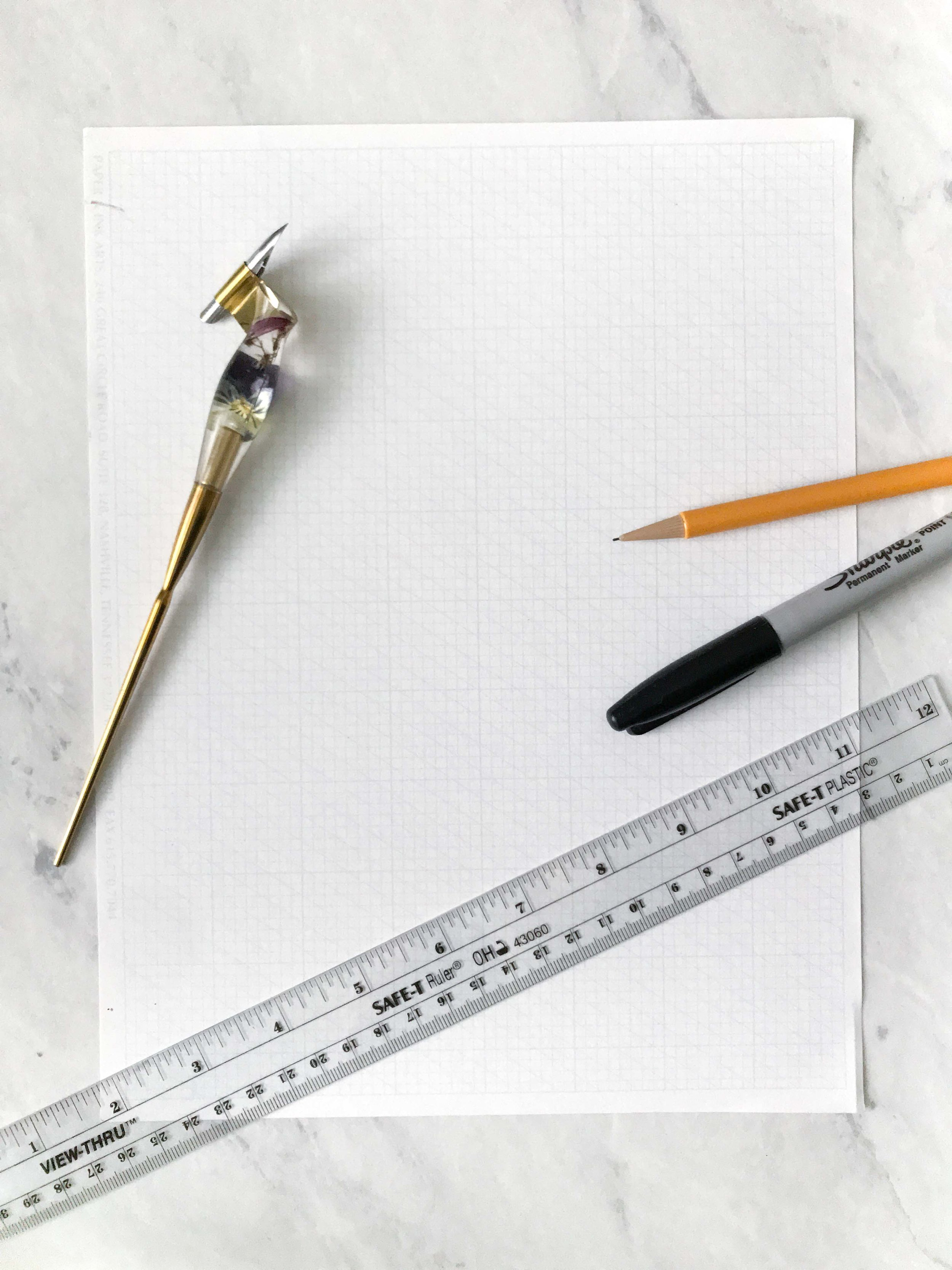 Supplies you'll need - Grid PaperMarker PaperPencil and/or Black MarkerRulerDip Pen + Ink