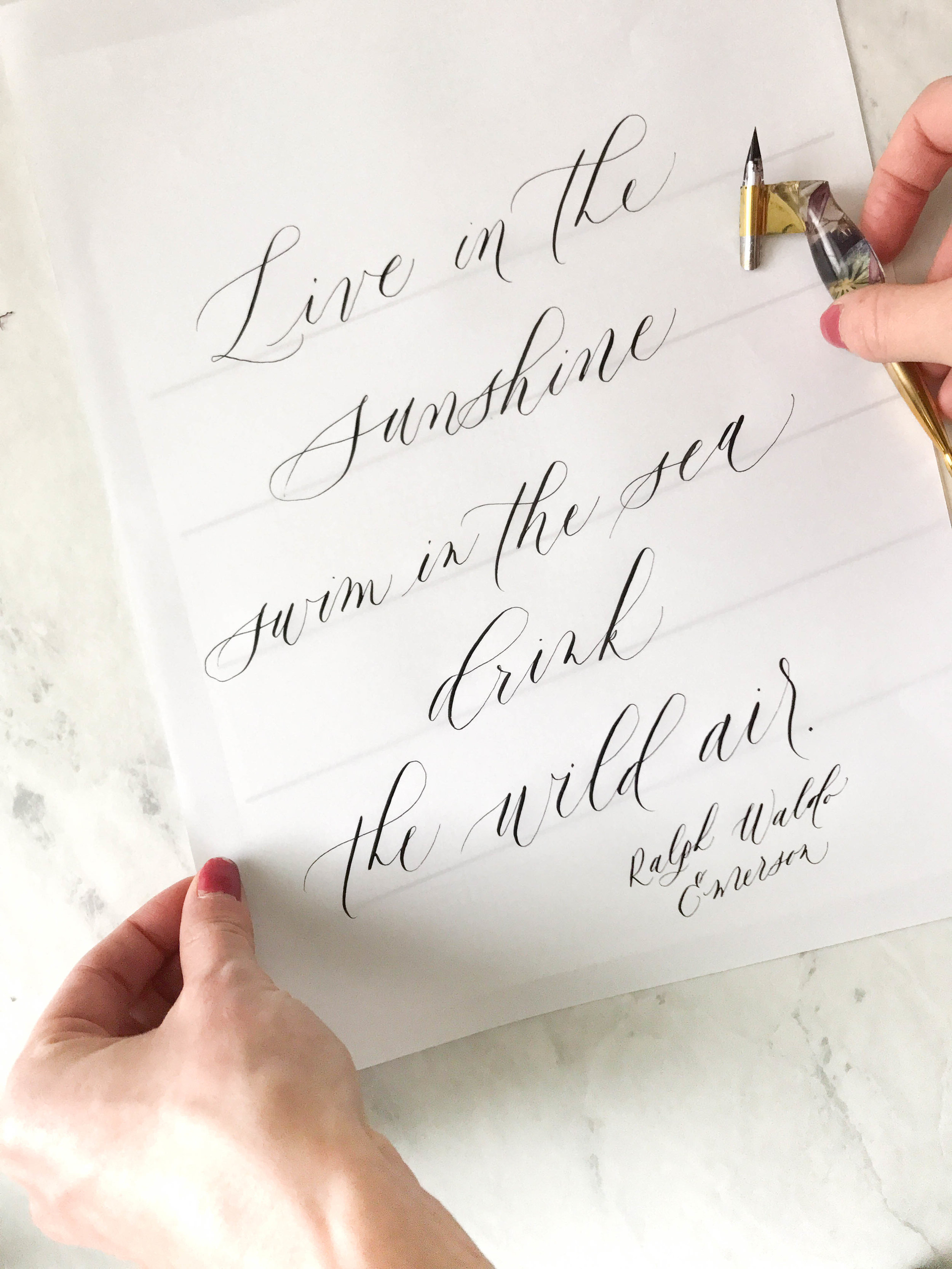 STEP 4:Write away! - Write your quote using your dip pen! When you pull the marker paper off of the template, the lines disappear and you have a perfectly spaced out masterpiece!