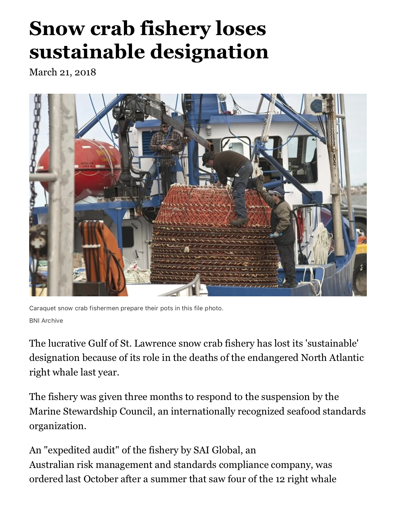 Snow crab fishery loses sustainable designation.png