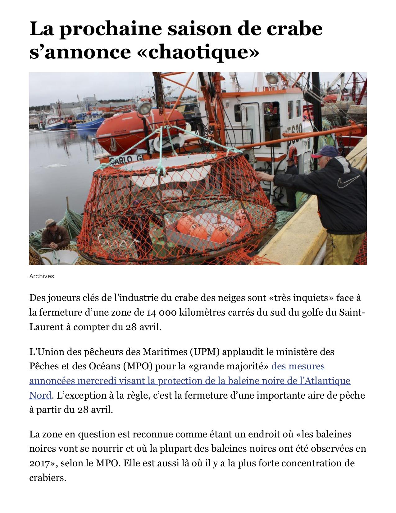 La prochaine saison de crabe s'annonce «chaotique» - Acadie Nouvelle.png