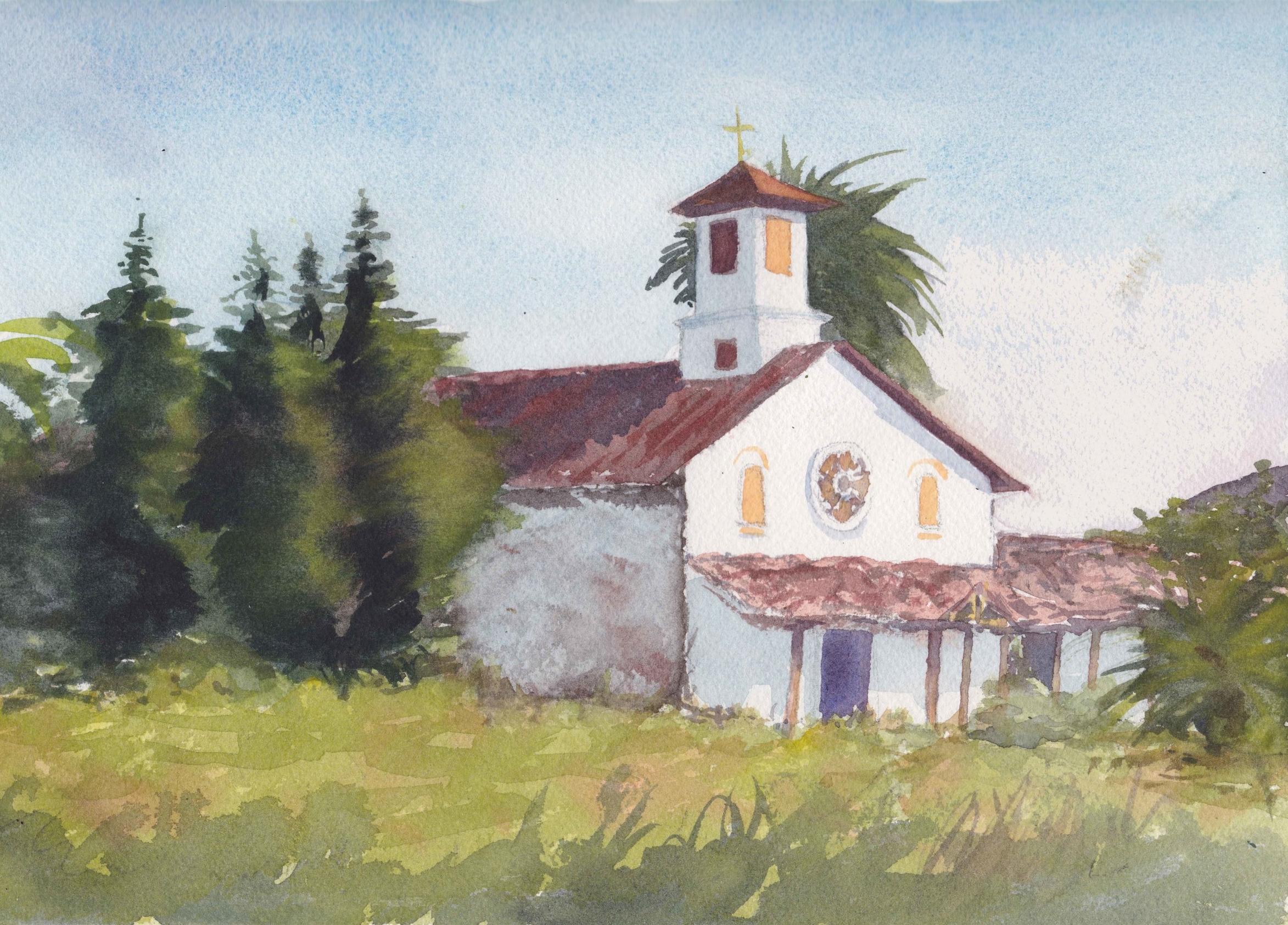 """""""Capilla Fundo los Maitenes"""",  VI Regón, Chile Tamaño Lámina: 23 x 31 cms.  VENDIDA"""