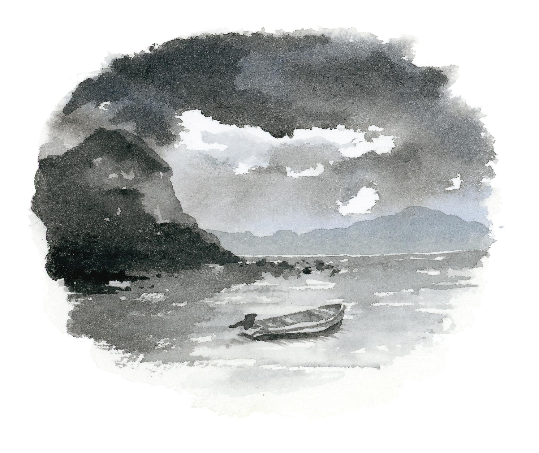 """""""Día de tormenta en el mar""""  Acuarela Original enmarcada. Tamaño Lámina: 13 x 13 cms. Valor:$ 65.000  DISPONIBLE"""