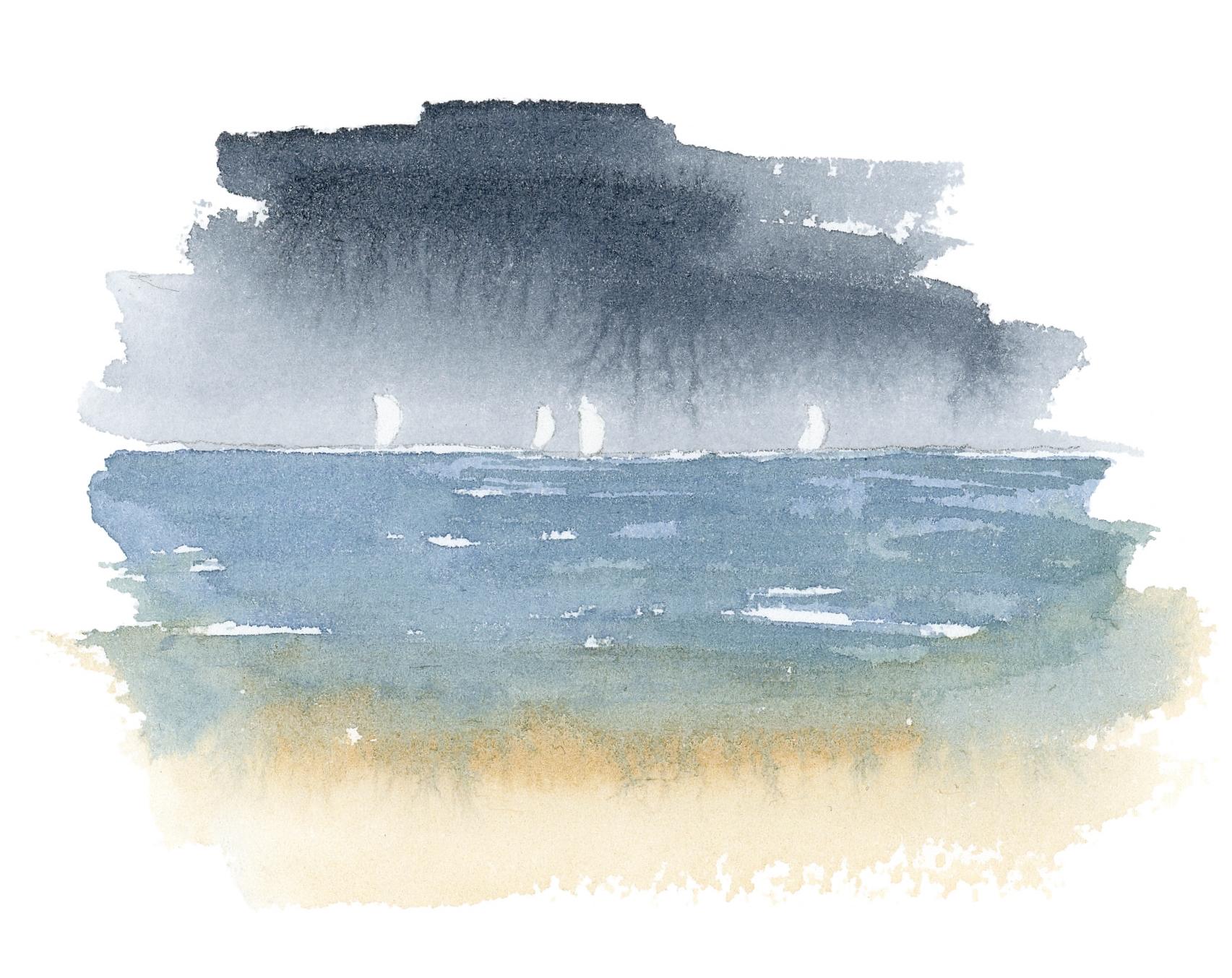 """Veleros a la distancia""  Acuarela Original enmarcada. Tamaño Lámina: 13 x 13 cms. Valor:$ 65.000  DISPONIBLE"