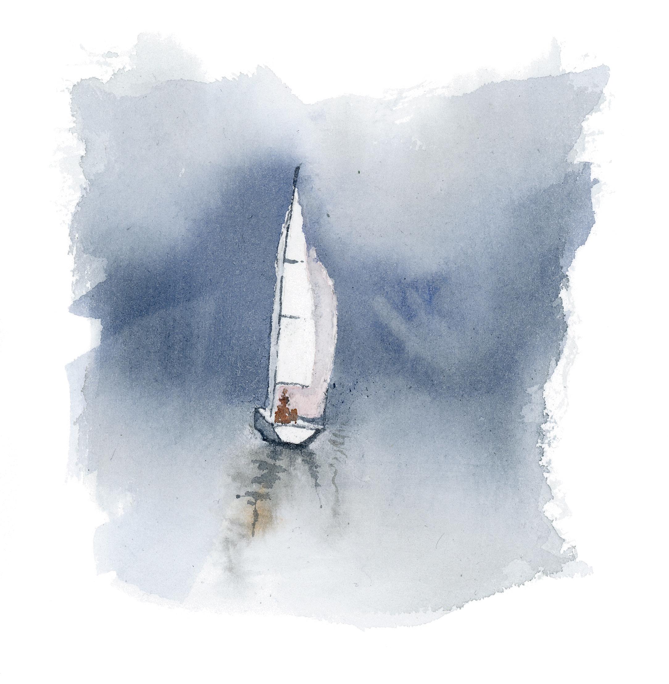 """Mar adentro""  Acuarela Original enmarcada. Tamaño Lámina: 13 x 13 cms. Valor:$ 65.000  DISPONIBLE"