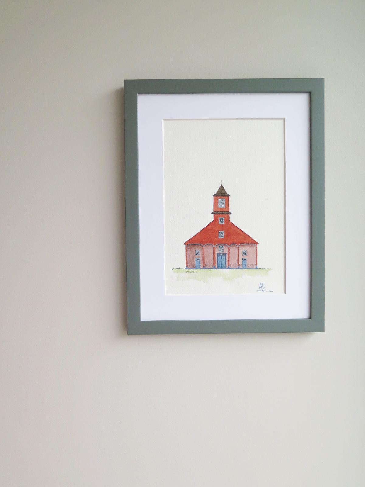 Iglesia de Caguach Valor: $38.000  Tamaño Lámina: 18 x 26 cms. Tamaño Cuadro: 29 x 37 cms. Marco: Blanco, Gris o Albayalde
