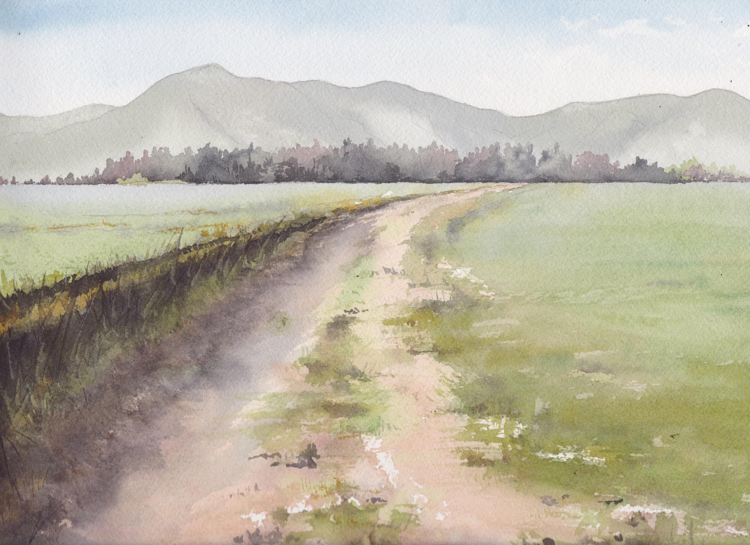 """Potreros Paniahue"", V Región, Chile  Tamaño Lámina: 23 x 31 cms. Valor: $120.000  DISPONIBLE"