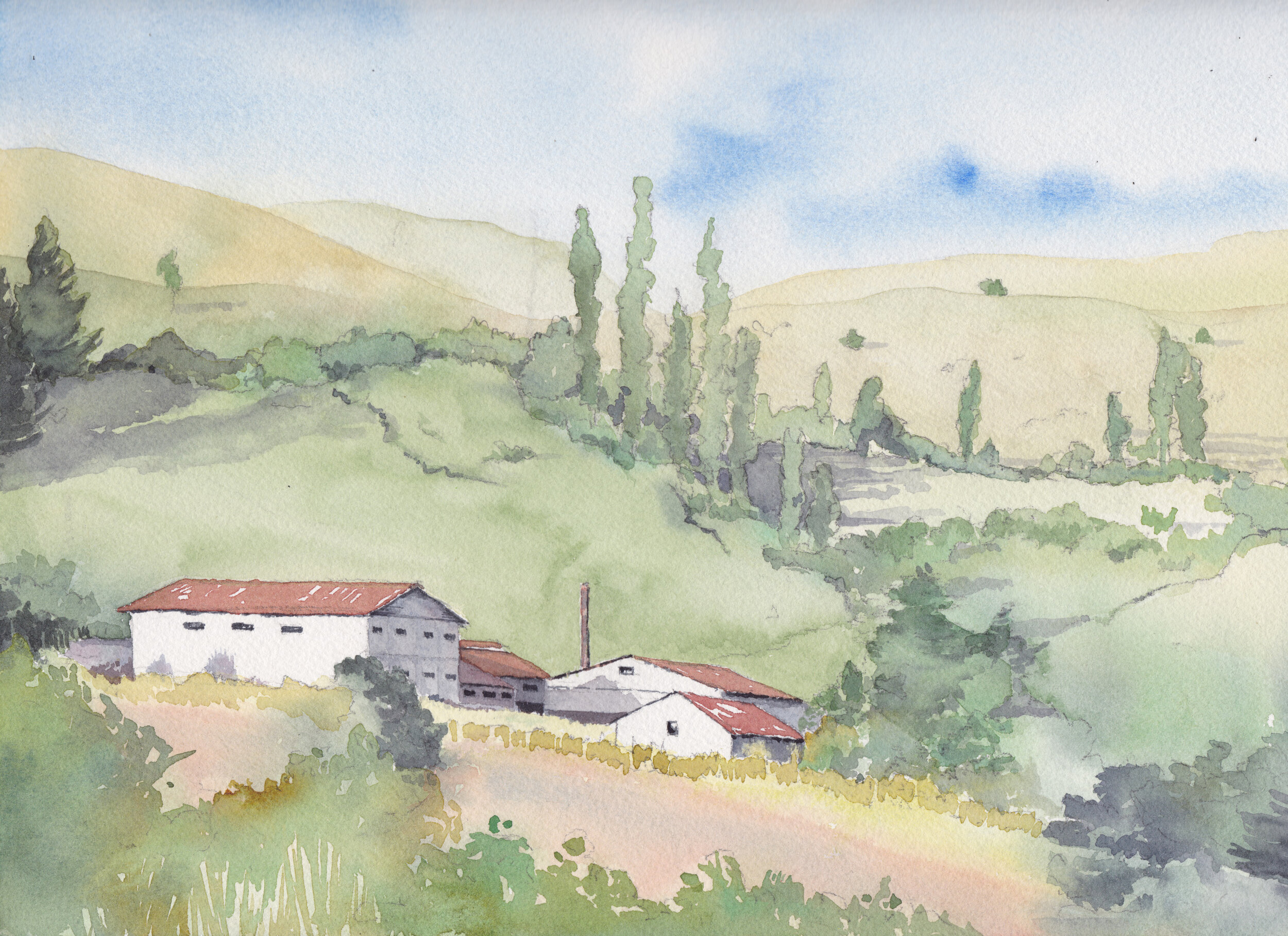 """Lechería San Pedro"",  IX Región, Chile Tamaño Lámina: 23 x 31 cms. Valor: $180.000  DISPONIBLE"