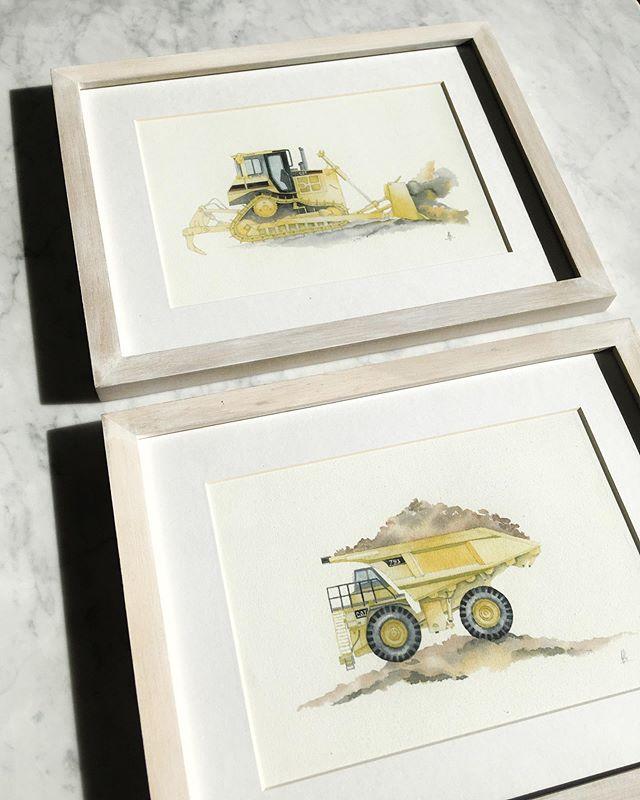 ⚠️Camión minero y Bull Dozer, para unos mini fanáticos de las máquinas! . . #kidsdecor #acuarela #watercolor #watercolorillustrations #watercolorillustration #boysdecor