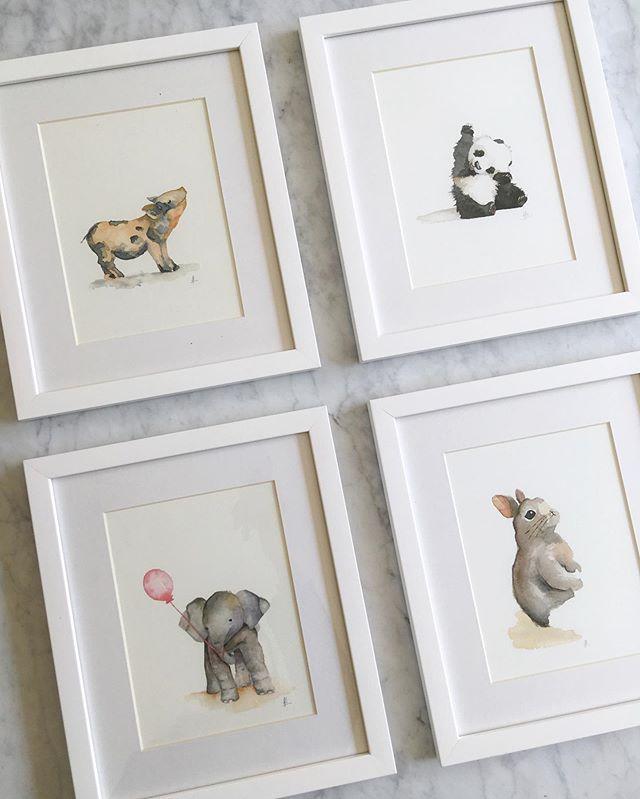 Así de lindos se ven estos 4 animales que parten hoy a decorar la pieza de la Amelia que está por nacer! 💕 . . #babyanimals #acuarela #watercolor #watercolorillustration #acuarela #babyroom #nursery #nurserydecor #babyroomdecor #art
