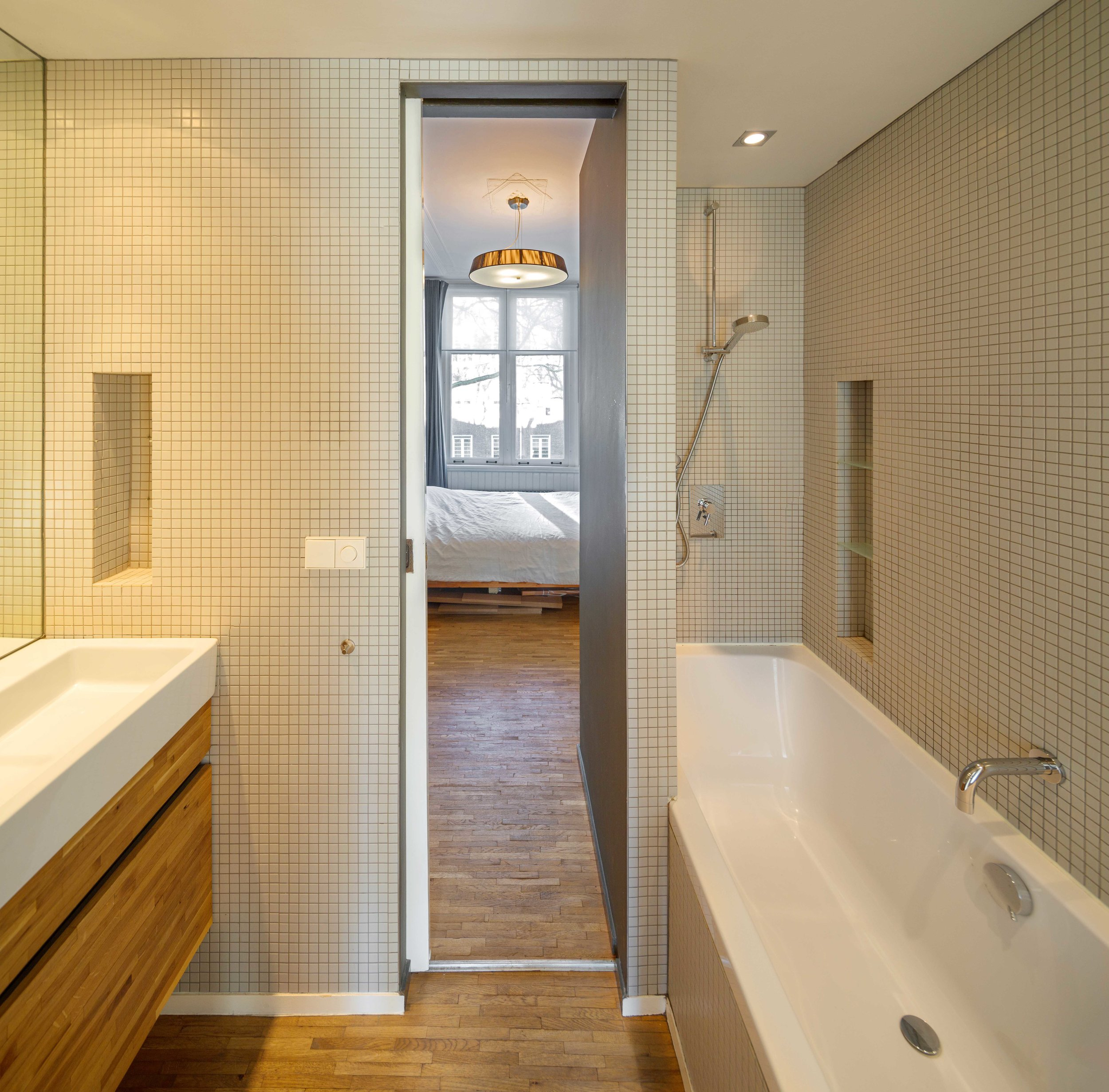 the bathroom is accessible from both siides, adding to the flexibility of the home