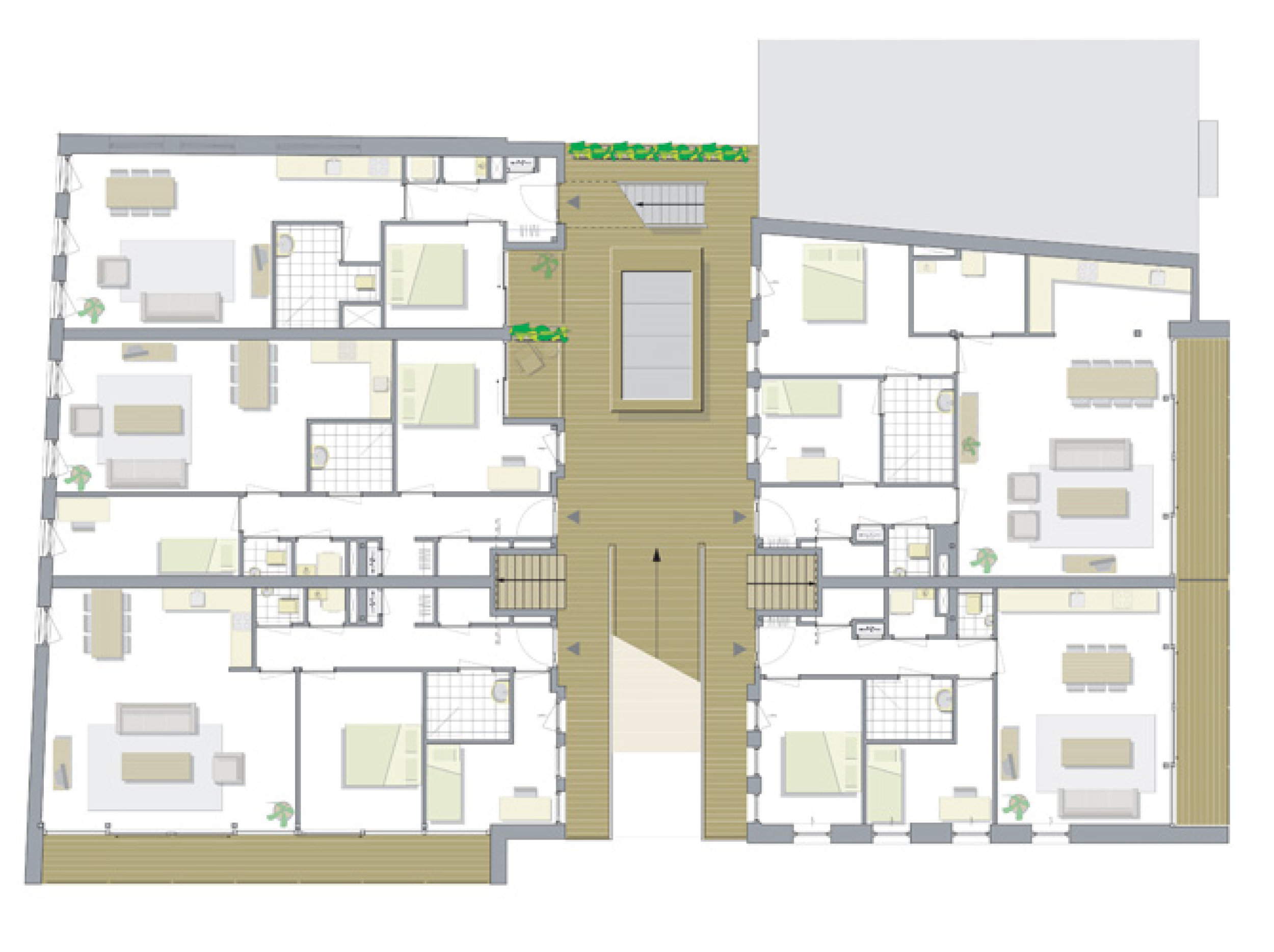 plan of the apartments on the first floor