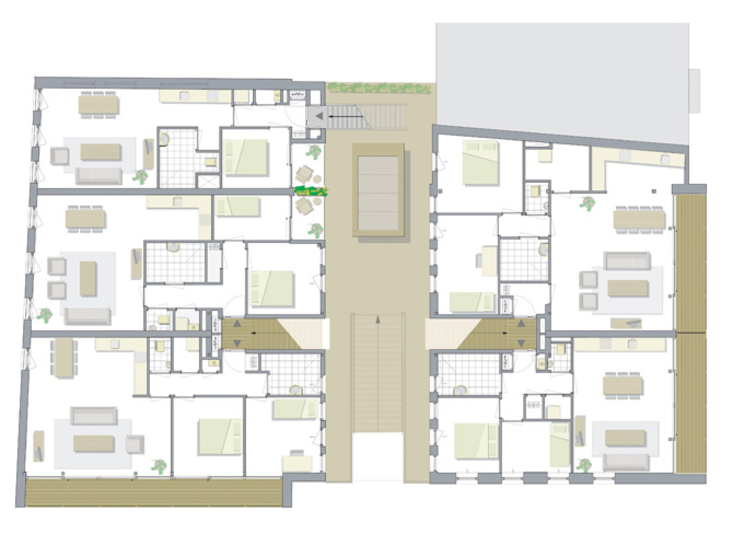 plan of the apartments on the second floor