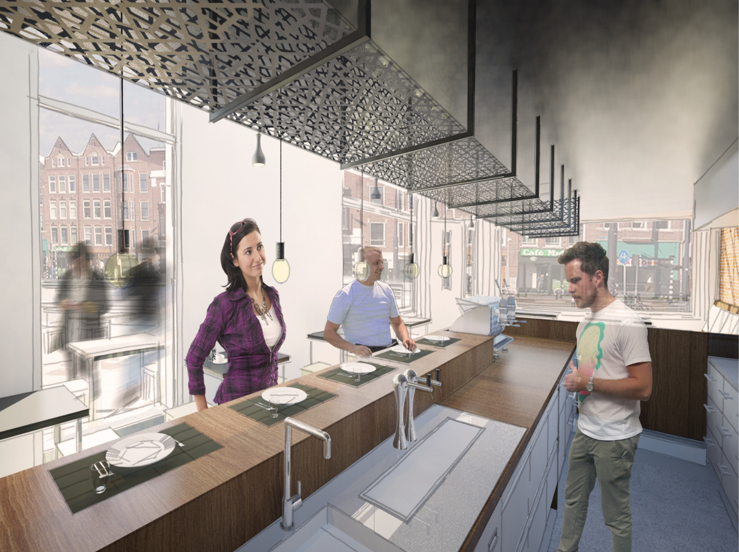 the slightly lowered floor of the bar makes sure people sitting at the bar are in direct contact with the bartender