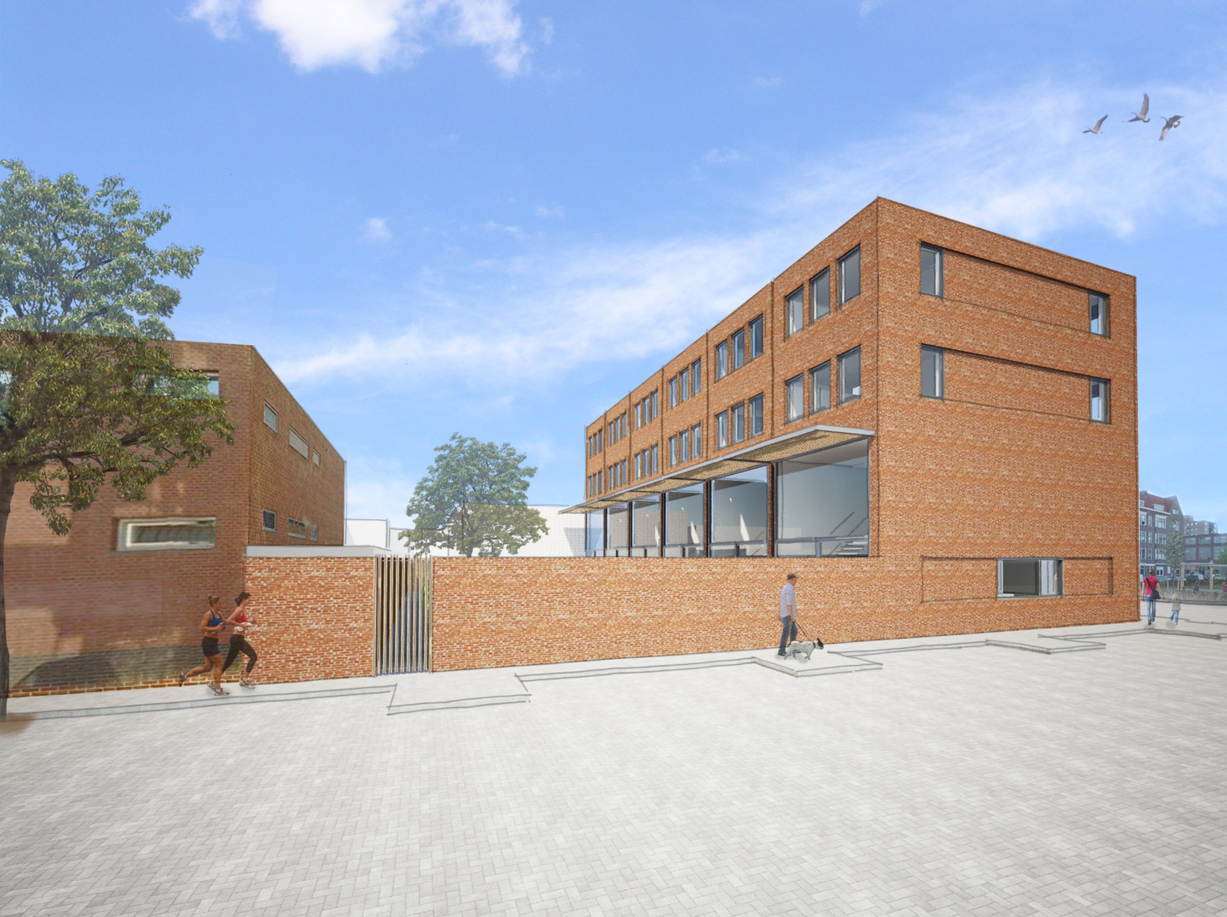 view from the side showing the brick wall separating the gardens form the street with a door leading to the storages in the gardens. The void on the first floor is represented by the double high glass facade on the back.