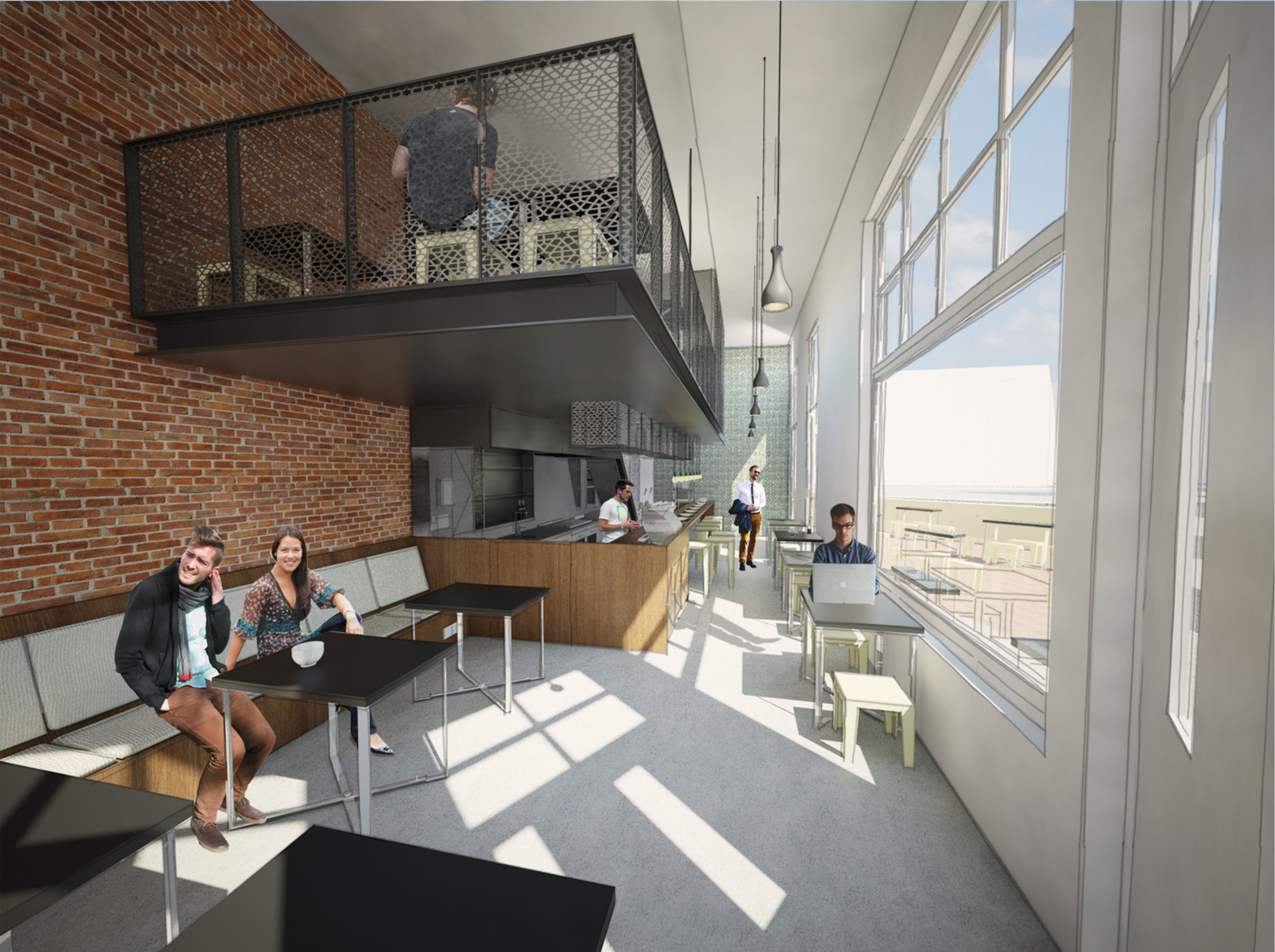 artist impression of the café showing the mezzanine hoovering over the bar area with the small kitchen