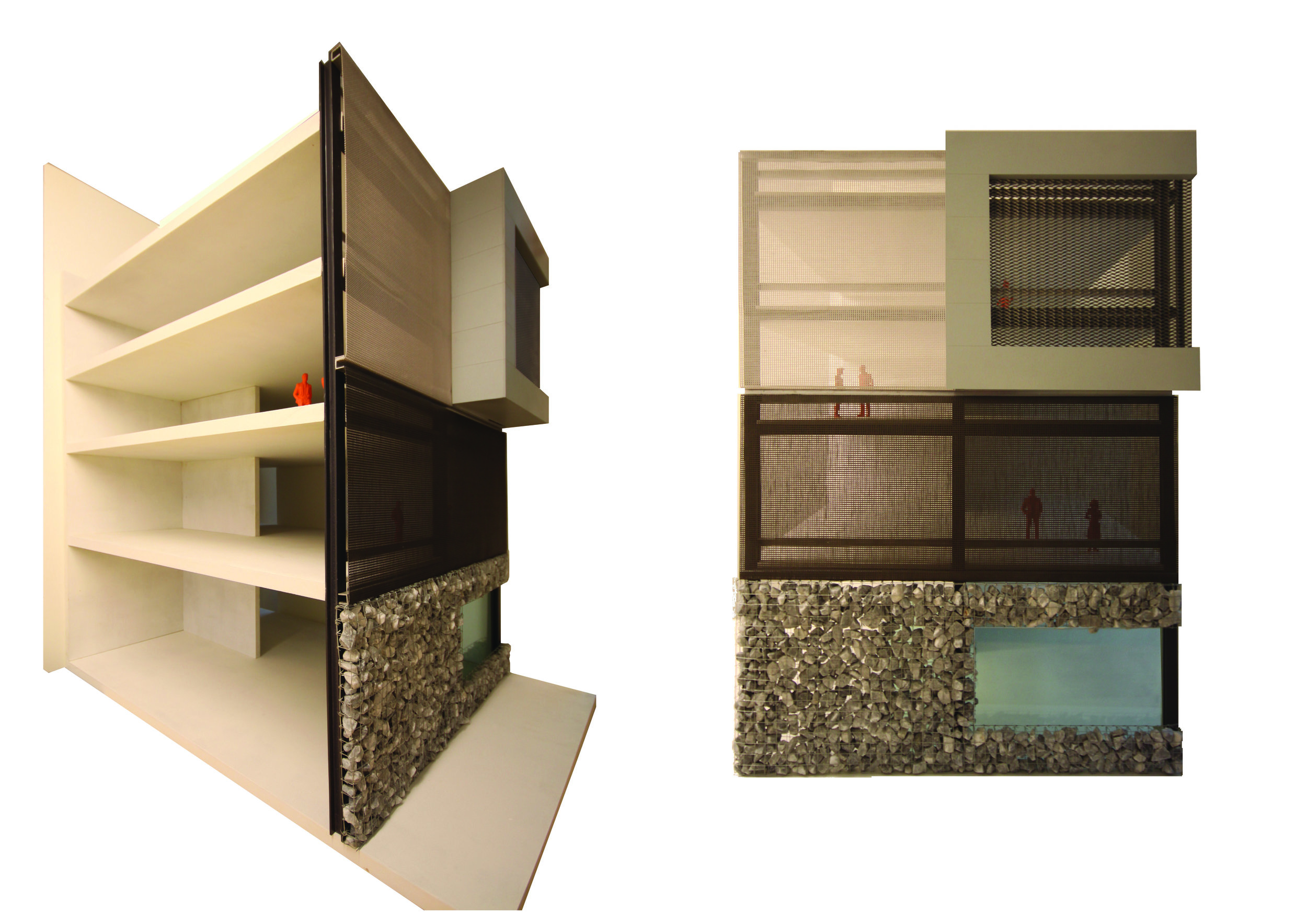 mock-up of the facade with the three distinct layers: stone, dark colored mesh and light colored mesh