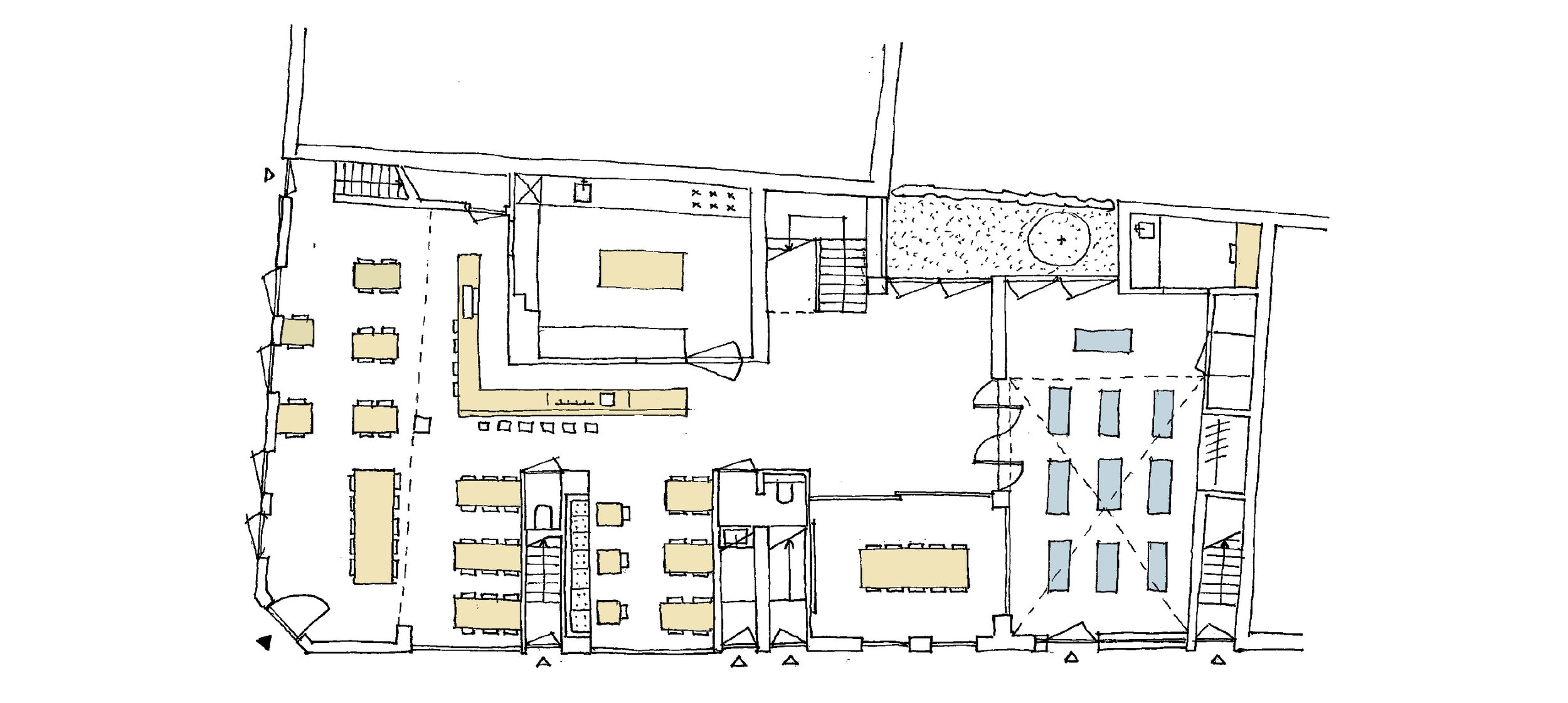 ground floor plan of the restaurant with the public area on the left and the meeting rooms and multifunctional space with the patio on the right