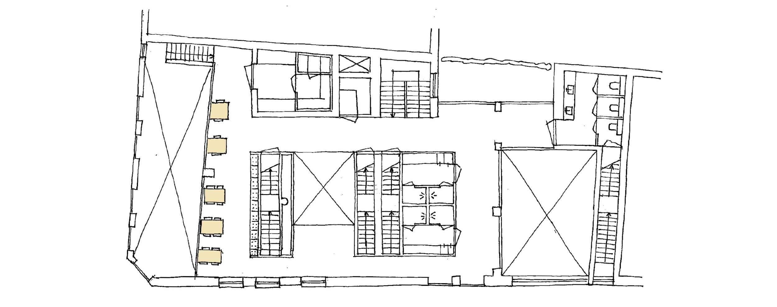 plan of the mezzanine showing seating area, storage space and toilets