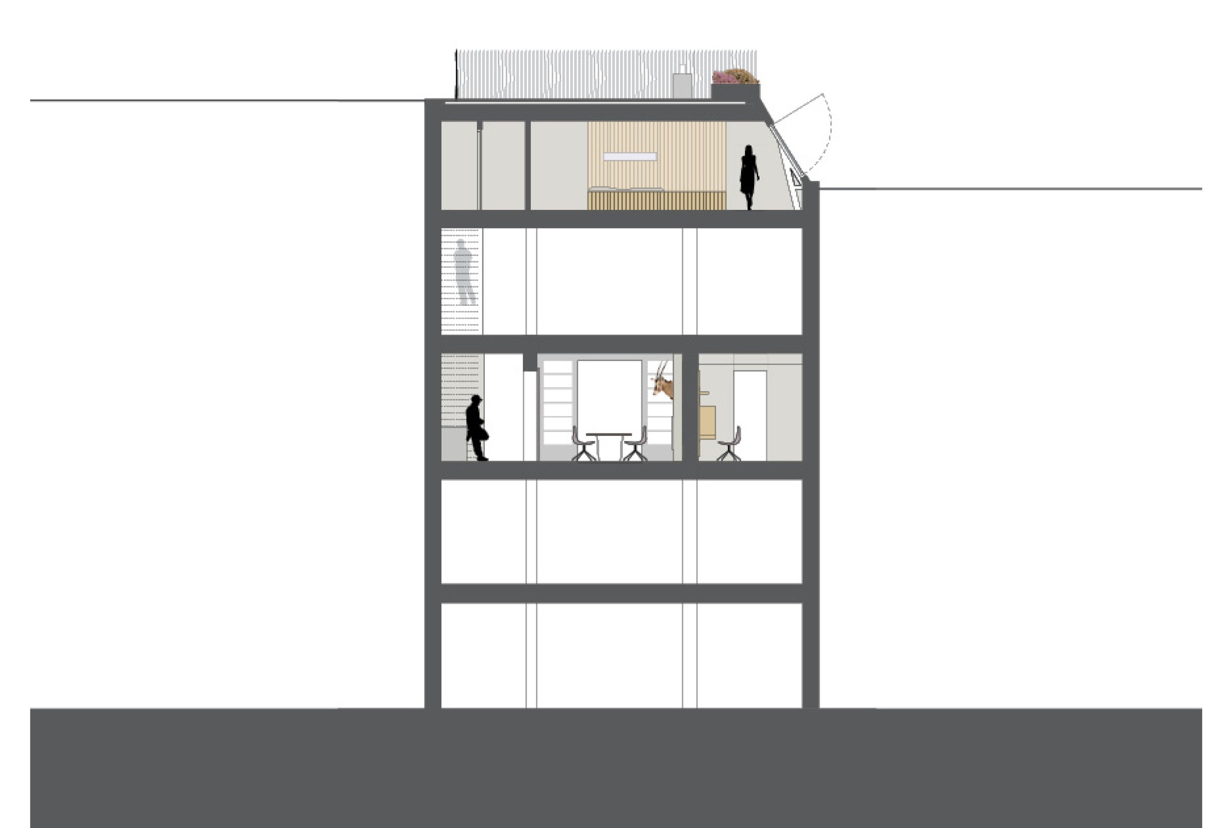 cross section of the apartment, loft and roof terrace