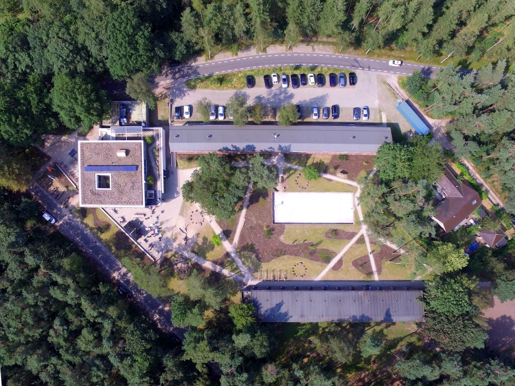 the complete ensemble seen form above with the swimming pool turned basketball court in its centre