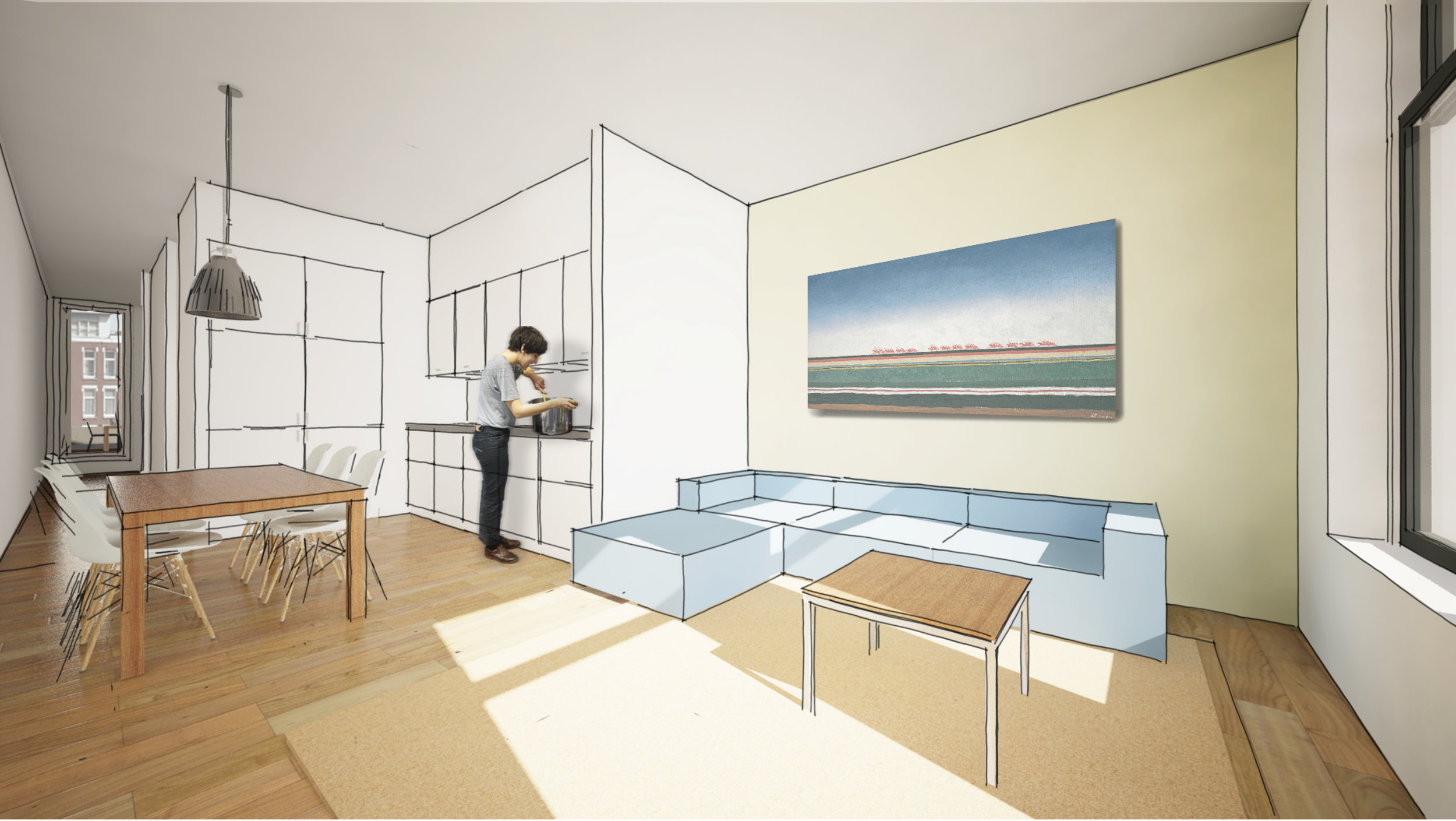 when the sliding doors are open the total length of the apartment can be experienced