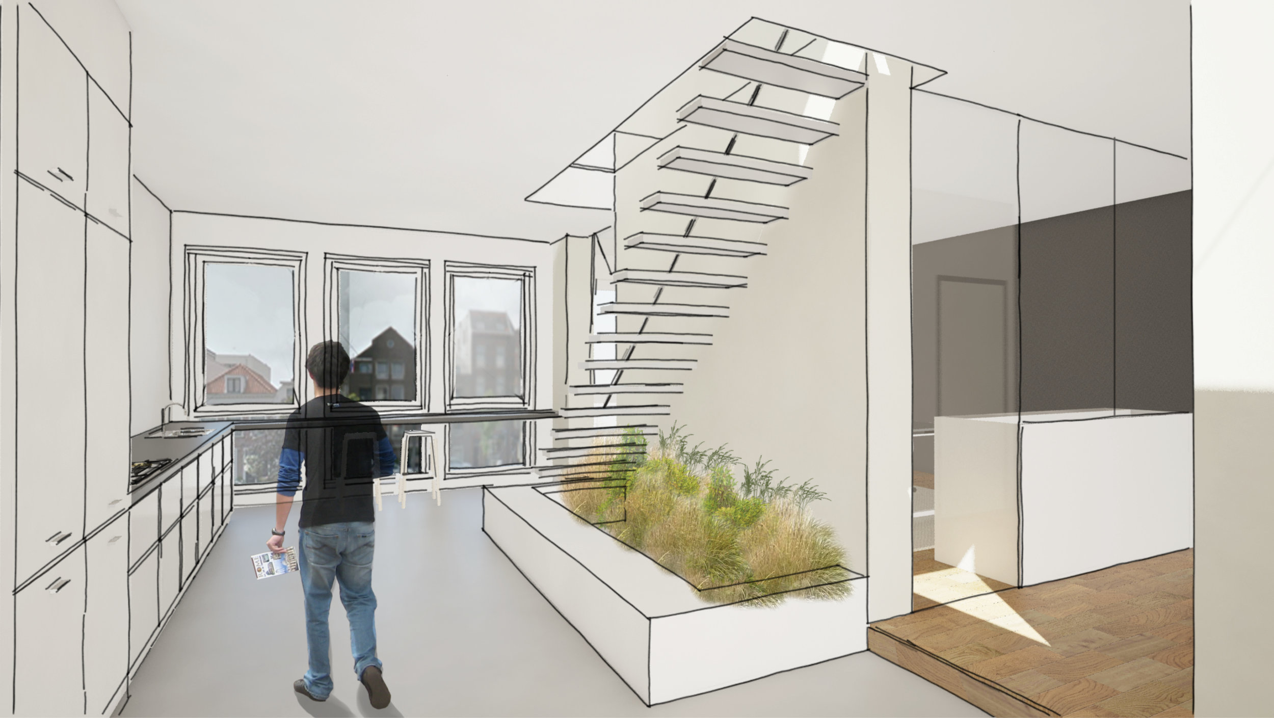 stairs in the kitchen lead up to the top floor with a view on the study area