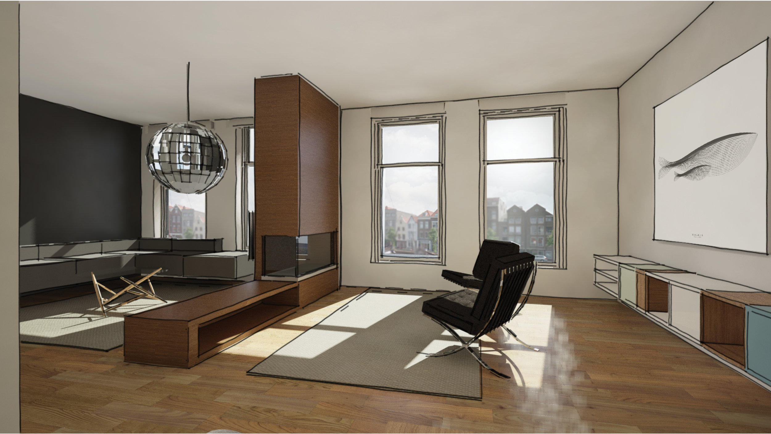 living room of the penthouse with the fire place serving as a dividing element between two different seating area's