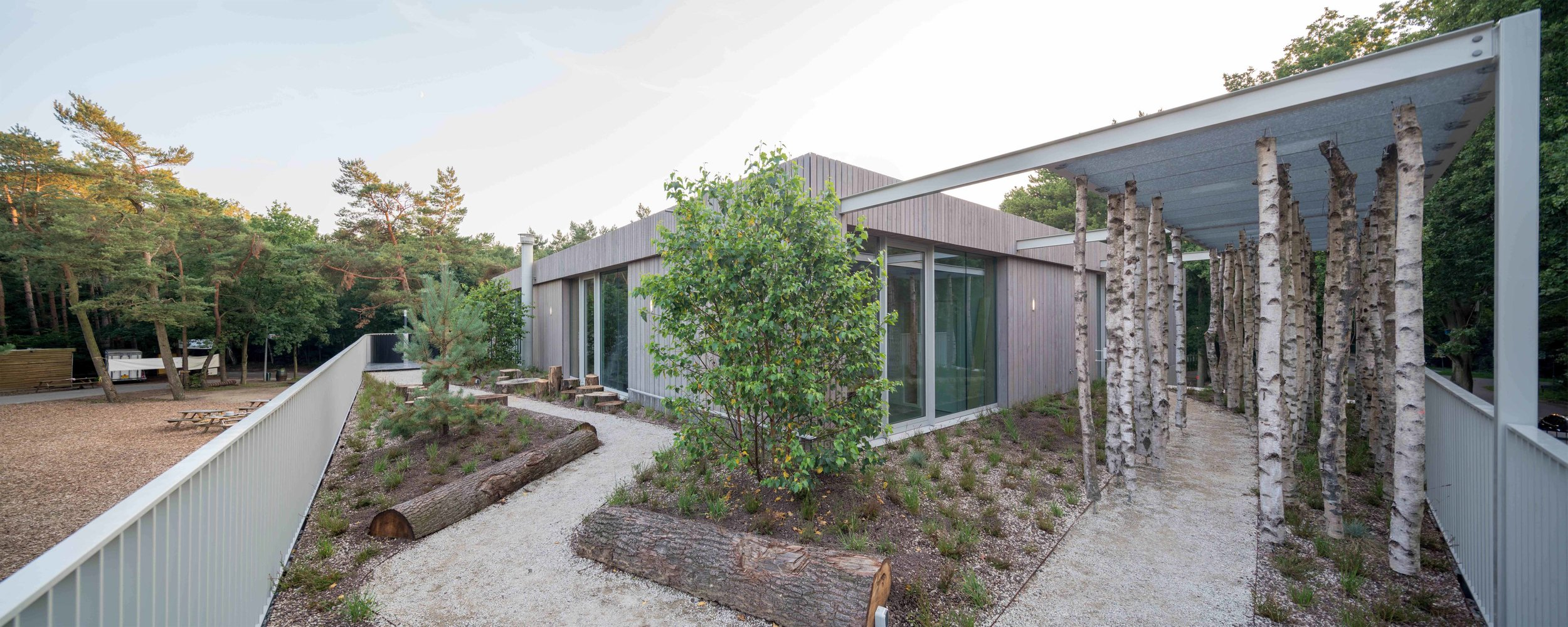 educational roof garden decorated with elements from the surrounding forest