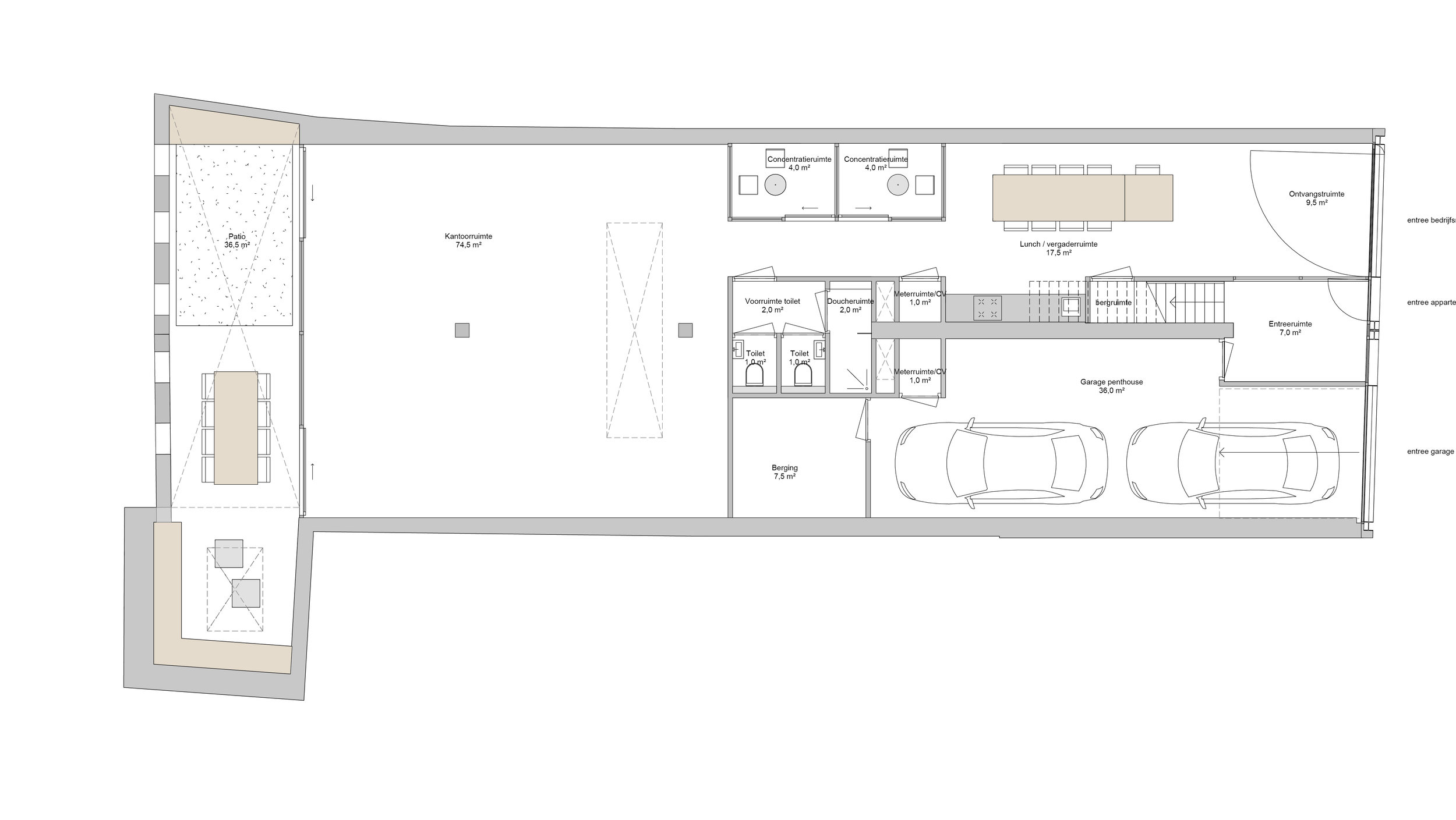 plan of the ground floor, with the office space and the garage of the owner