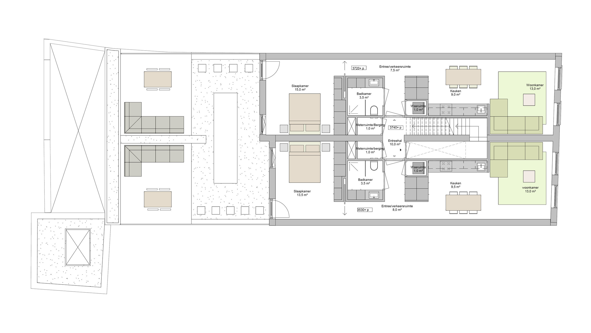 plan of the first floor, the two apartments with roof terrace