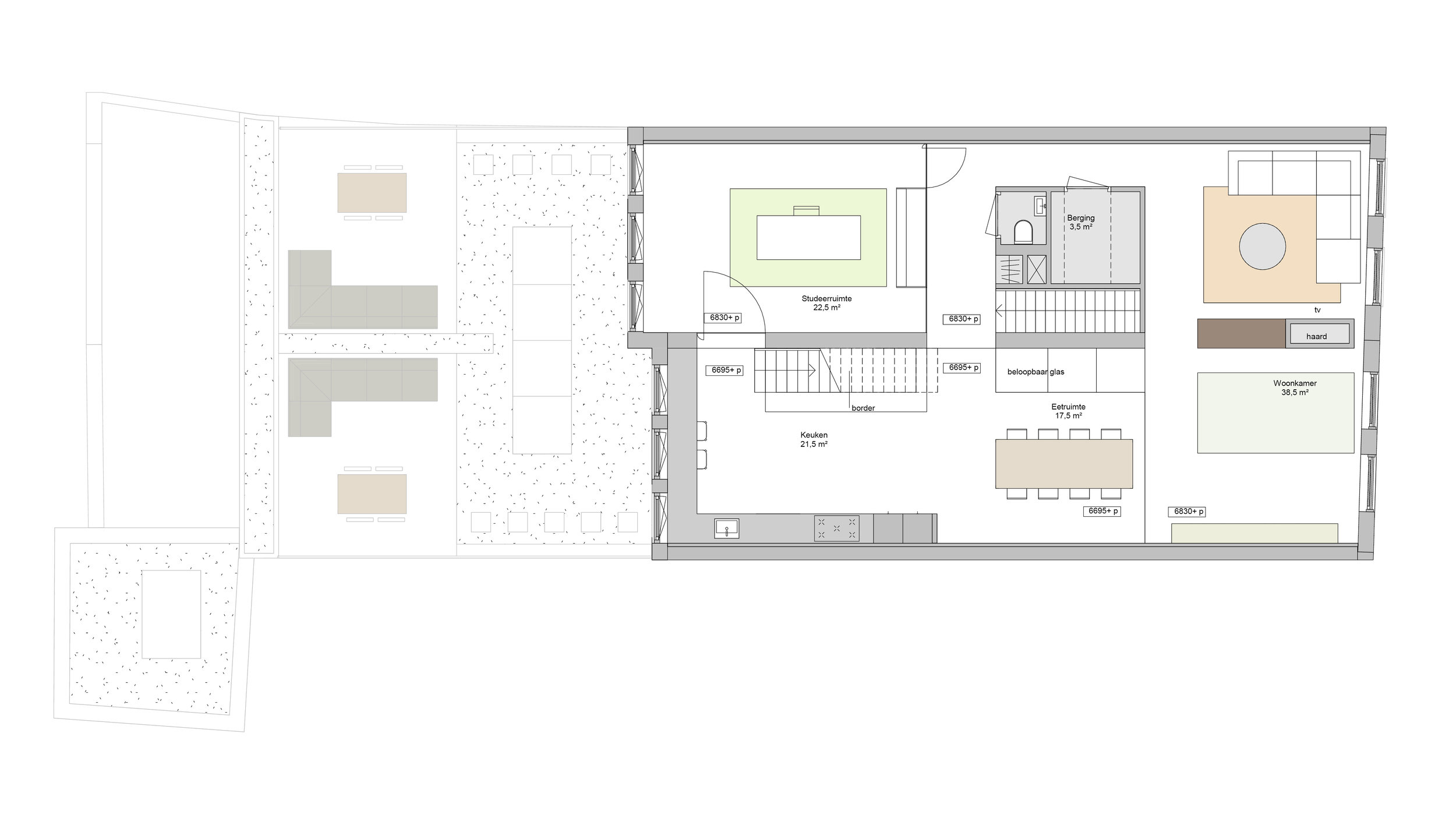 plan of the second floor, the living area of the penthouse with living room, storage, kitchen and study area