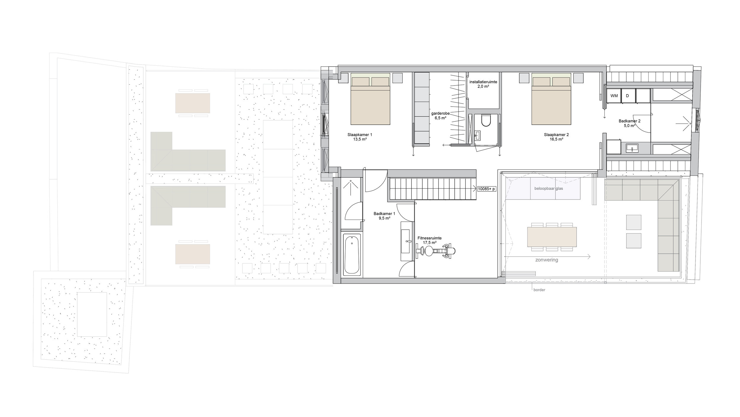 plan of the third floor, the sleeping area of the penthouse with the master bedroom with walk in closet and en suite bathroom and the guest bedroom with its own bathroom.
