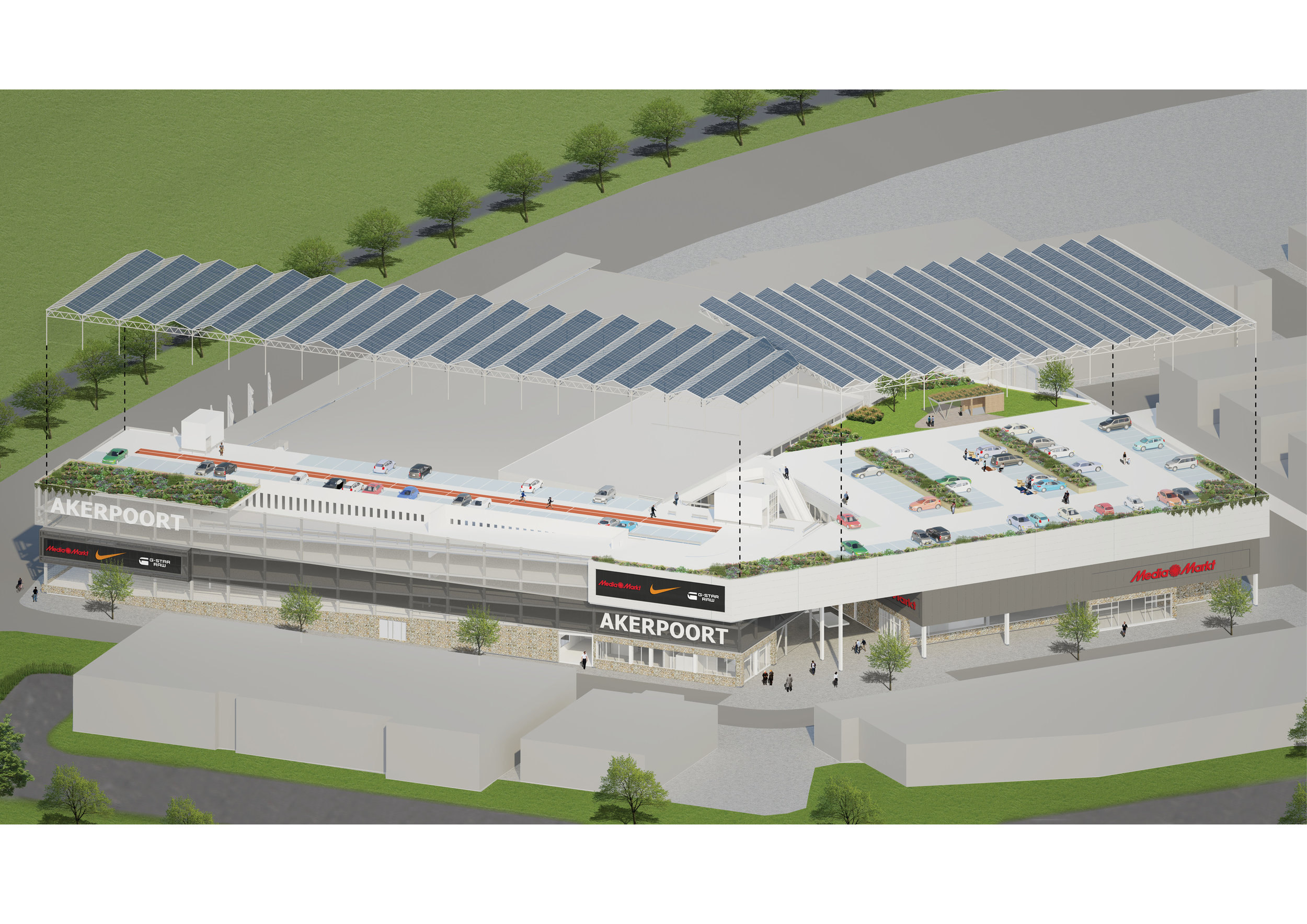 from shopping mall to energy hub   retail center with shops, parking facility and sustainable roof