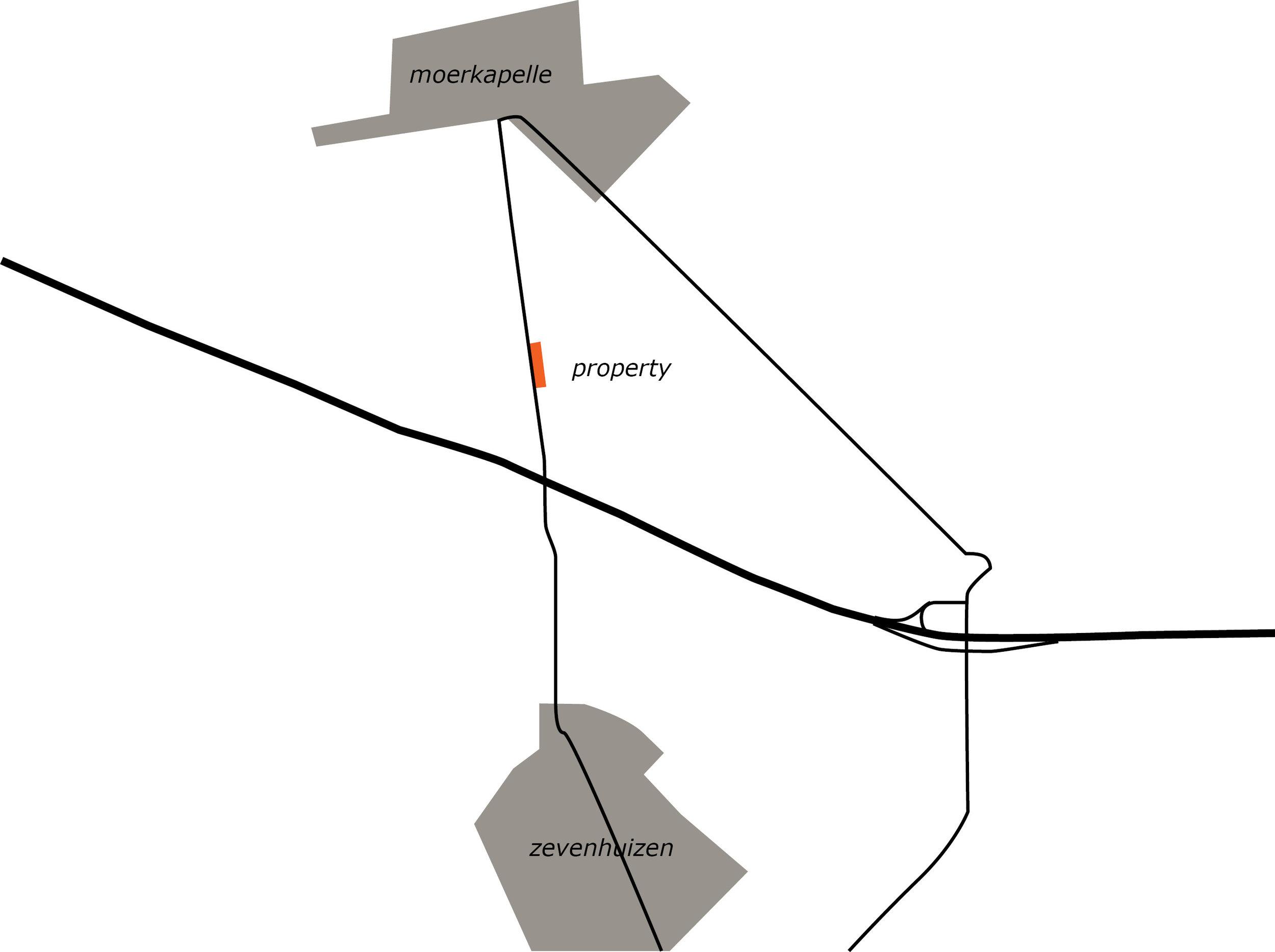 situation of the house in between Moerkapelle and Zevenhuizen