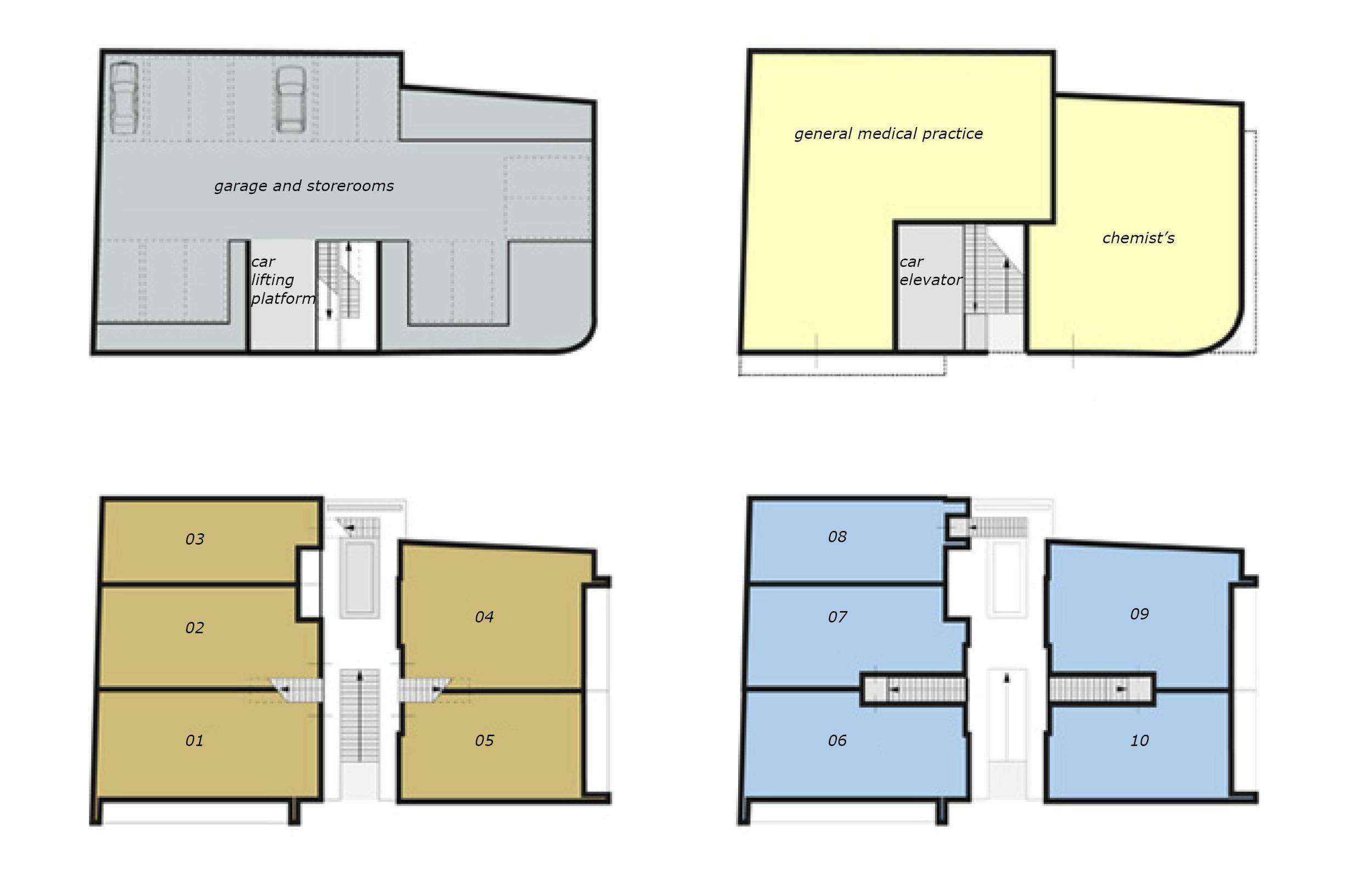 schematic display of the functions per floor