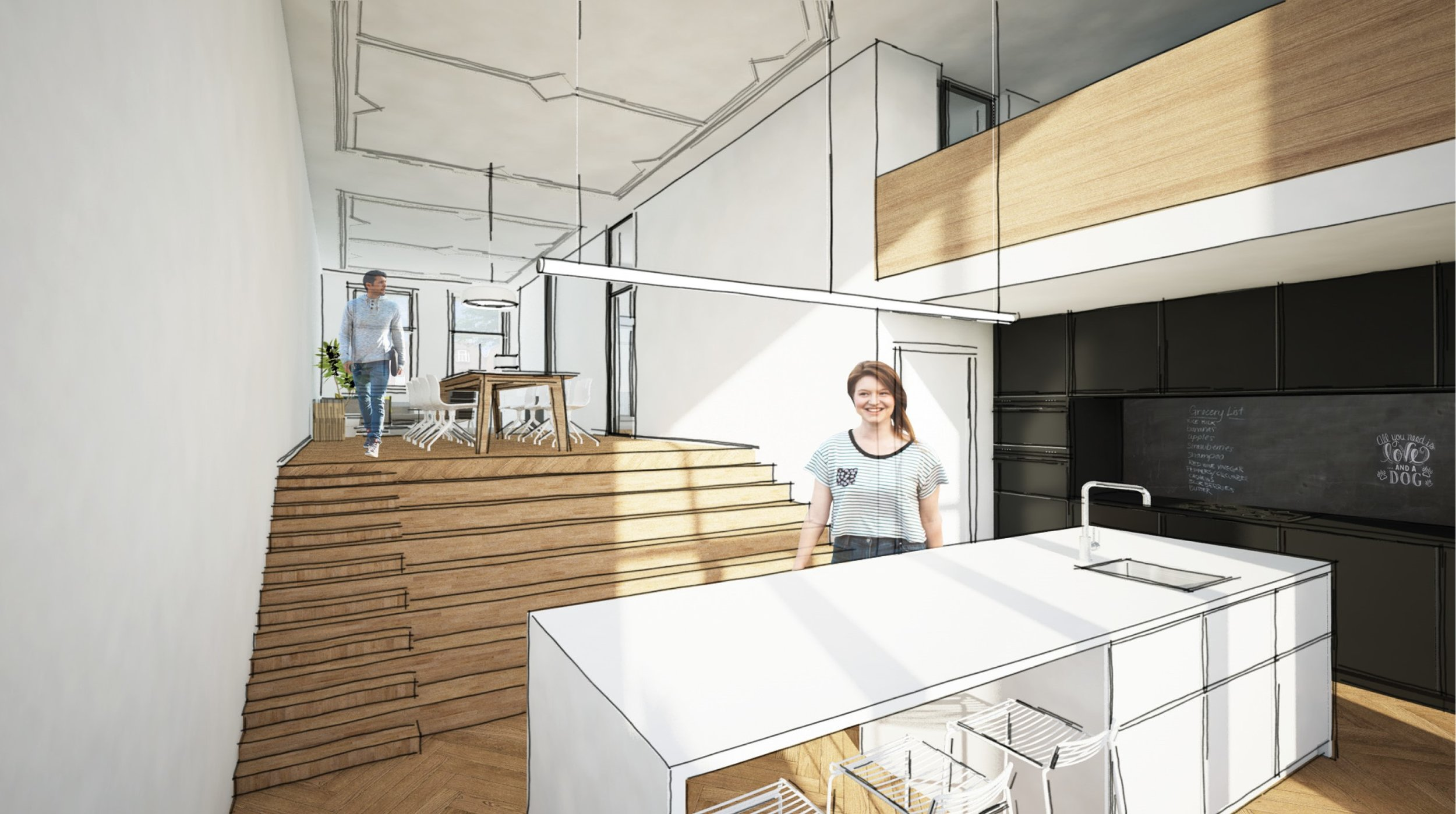 the stairs connects the living room and the kitchen with each other