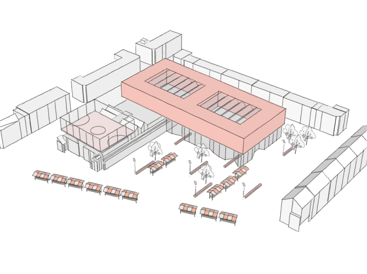 public building  - first sketches of 'Hart van BoTu' as part of the design research