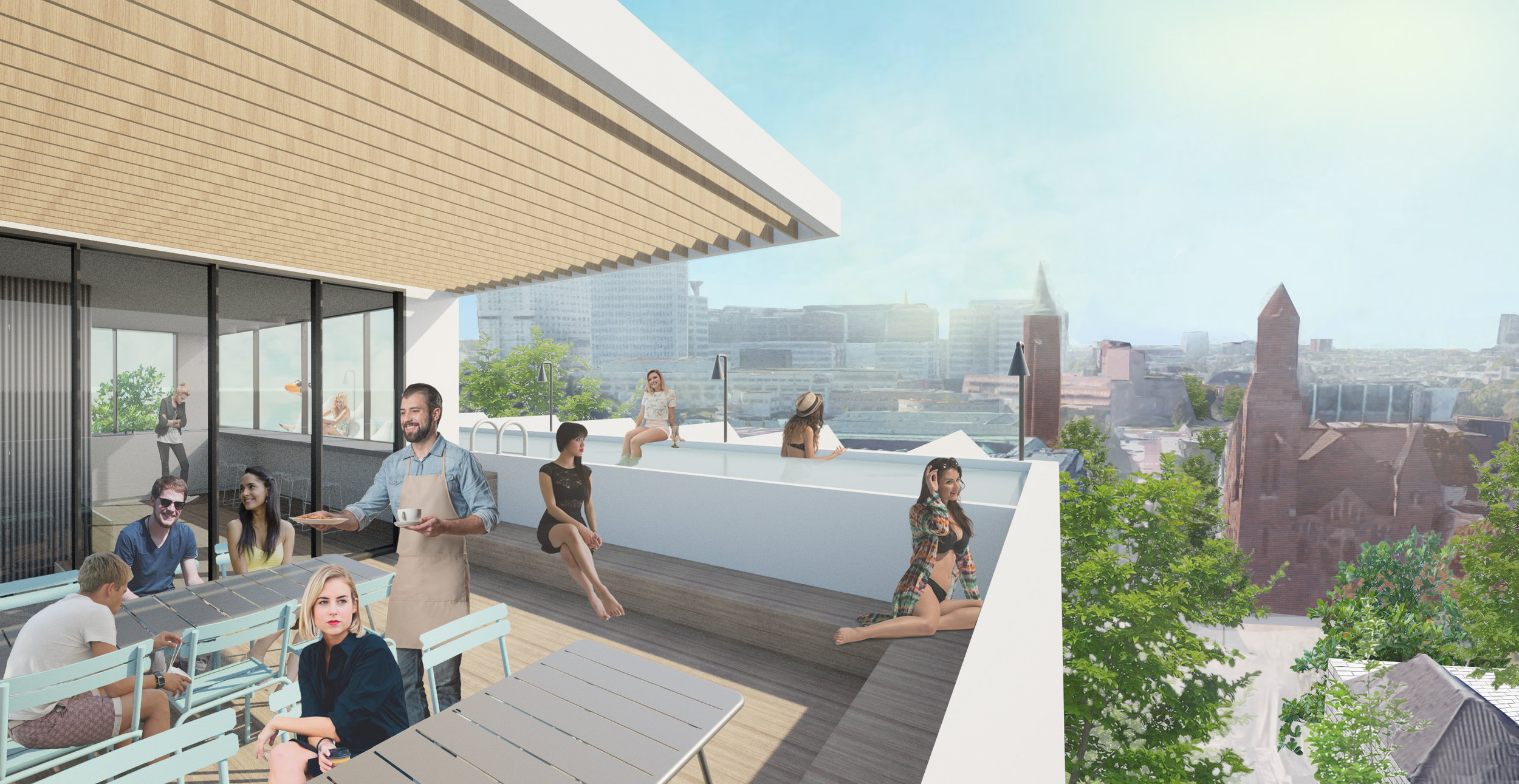rooftop bar with swimming pool where everyone can enjoy the view on the skyline of Rotterdam