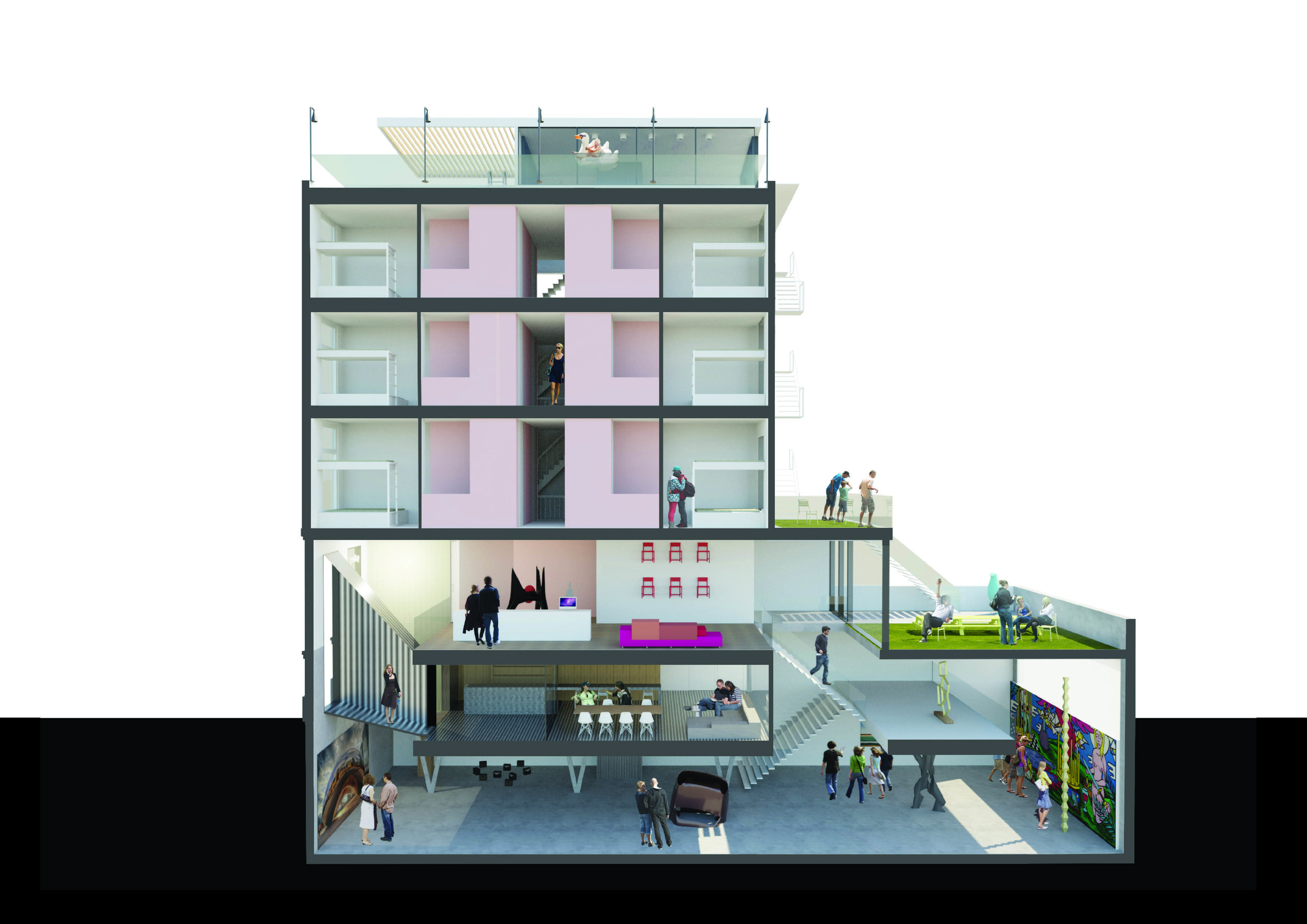 city hotel with art gallery, coffee shop, rooftop bar and swimming pool