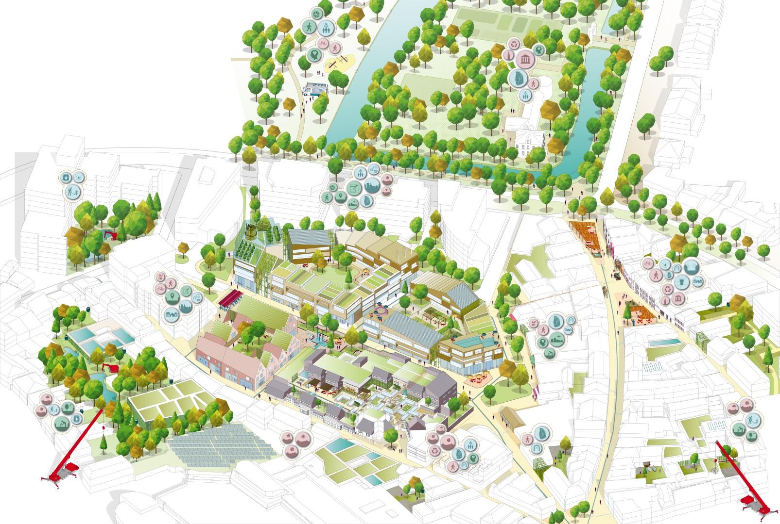 uitwerking van het gebied rondom het voormalige stadhuis, de Oelemarkt en het kasteelpark