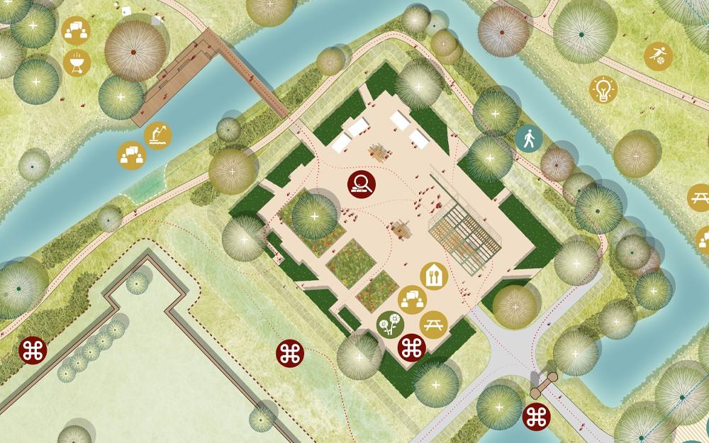 Het voorhof wordt een levendig plek met ruimte voor ontmoeting, educatie en om te ontspannen.