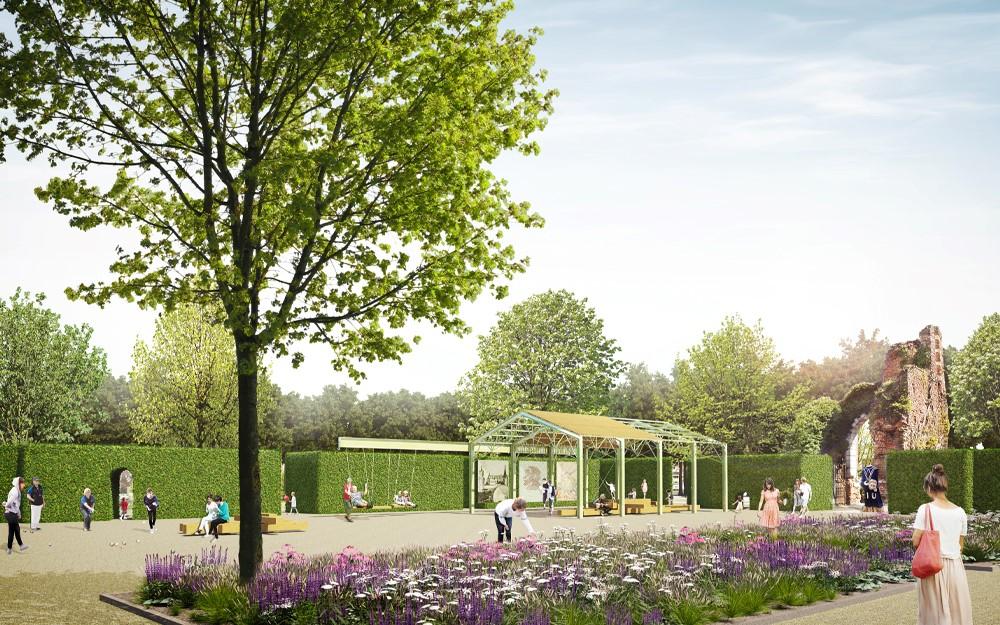 In de visie worden de spanten van de houthandel hergebruikt in een multifunctioneel paviljoen.