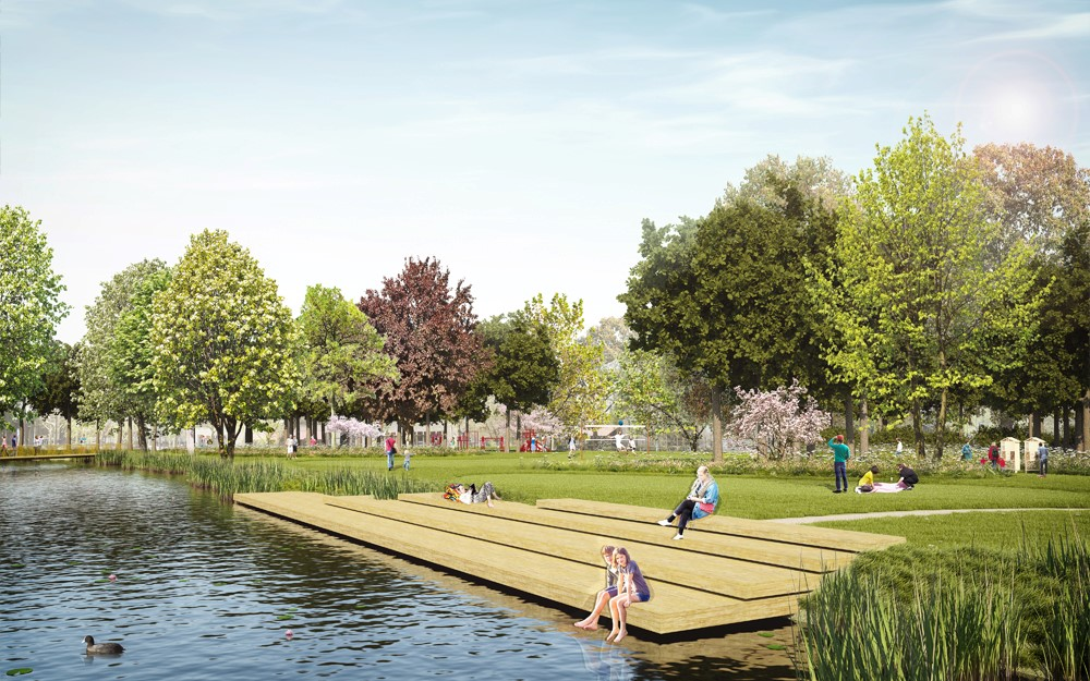 Het huidige stadspark verandert van een saaie grasvlakte in een divers, levendig park.