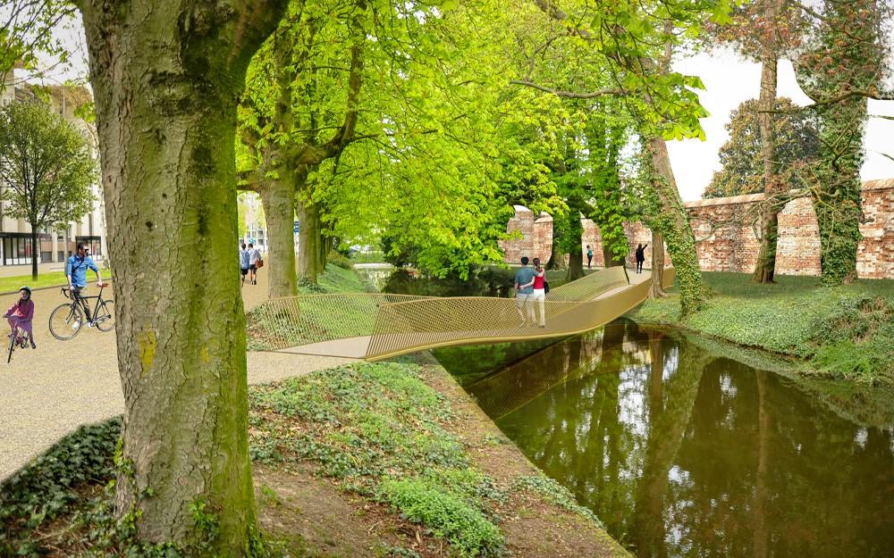 De stad en het park worden verbonden middels drie nieuwe bruggen. De contouren van het kasteel worden weer zichtbaar.