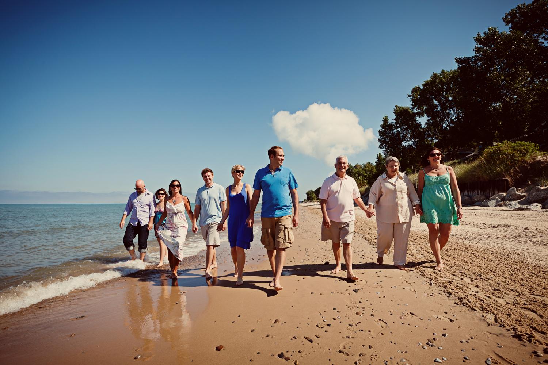 extended family portrait on beach