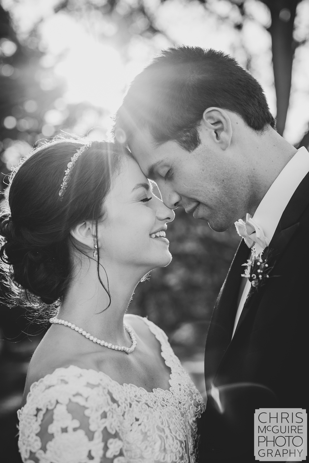 bride groom portrait with solar flare