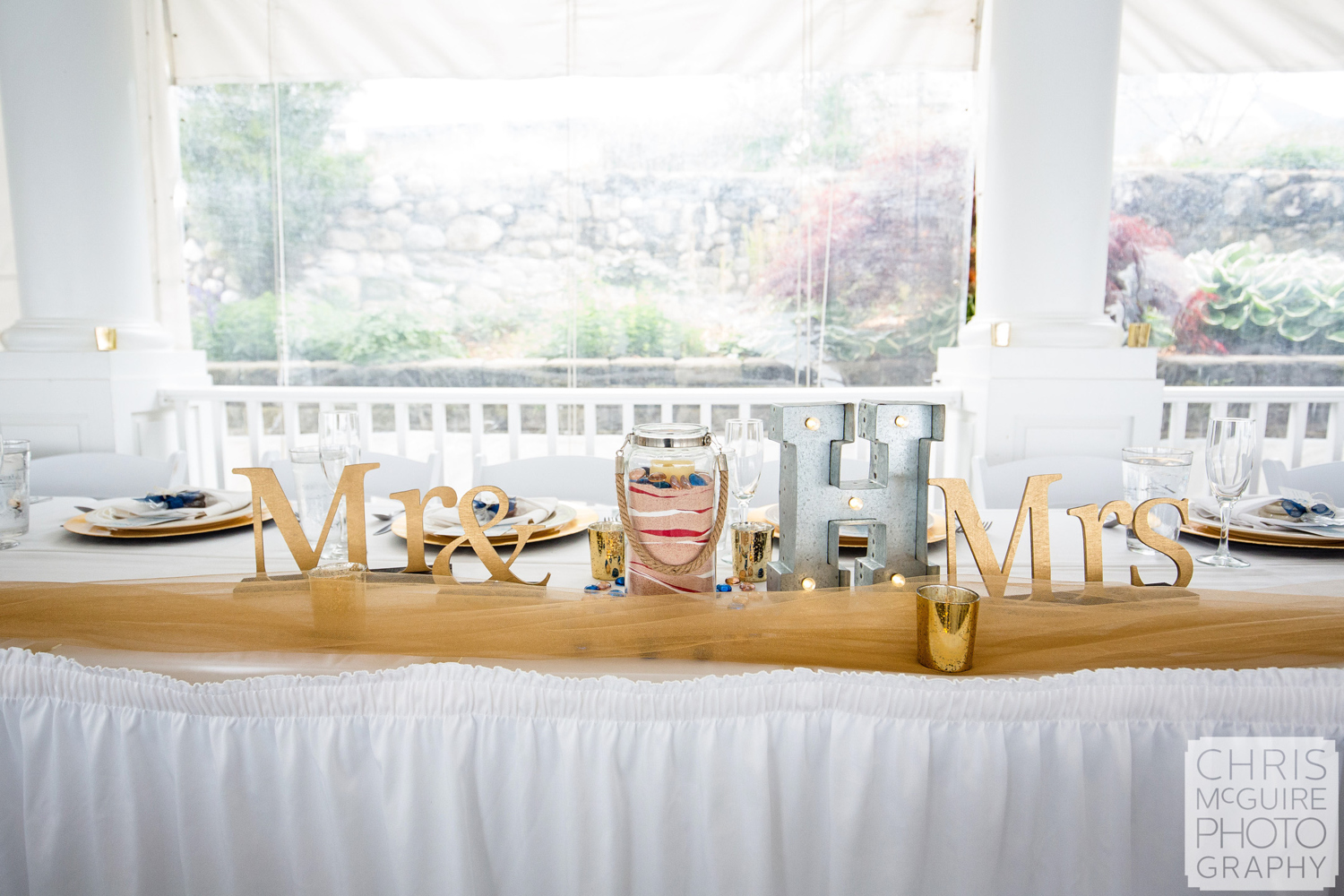 mr and mrs signs wedding head table