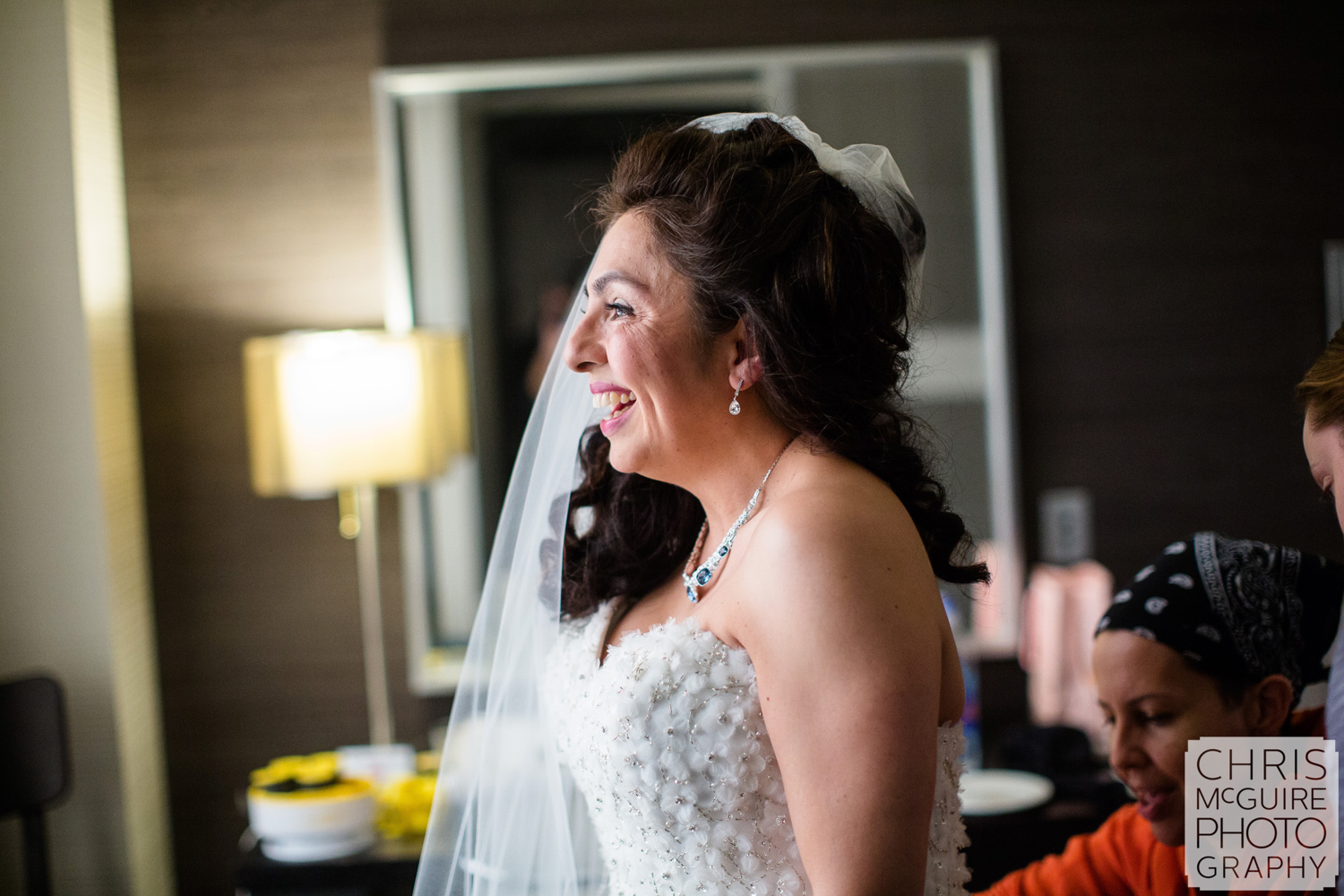 bride laughing getting ready
